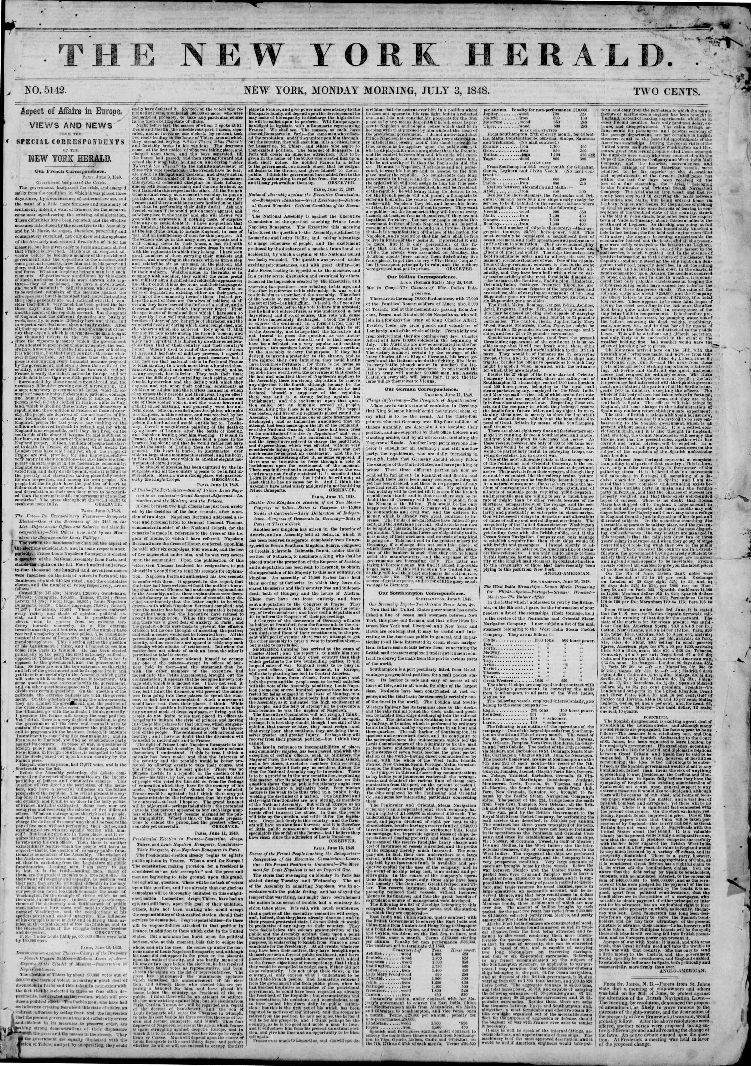 Newspaper of The New York Herald dated July 3, 1848 Page 1