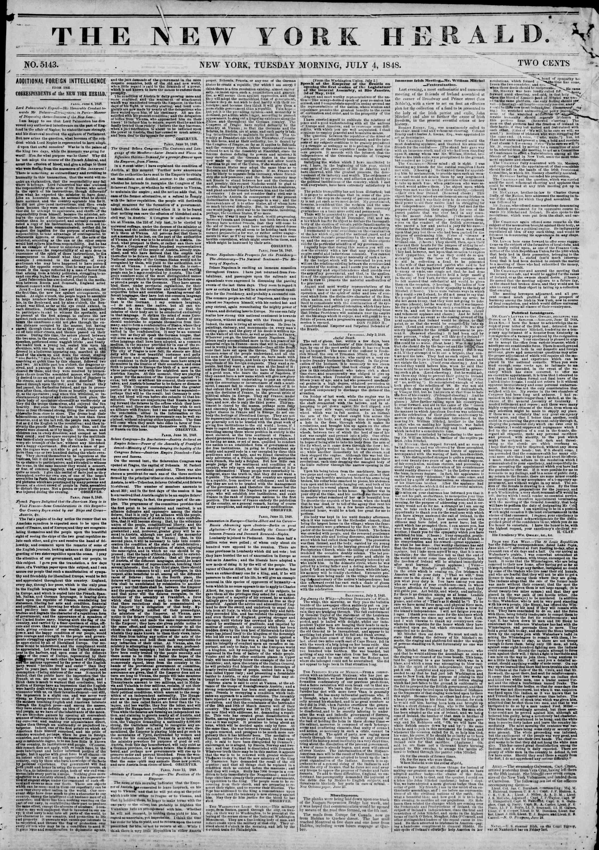 4 Temmuz 1848 tarihli The New York Herald Gazetesi Sayfa 1