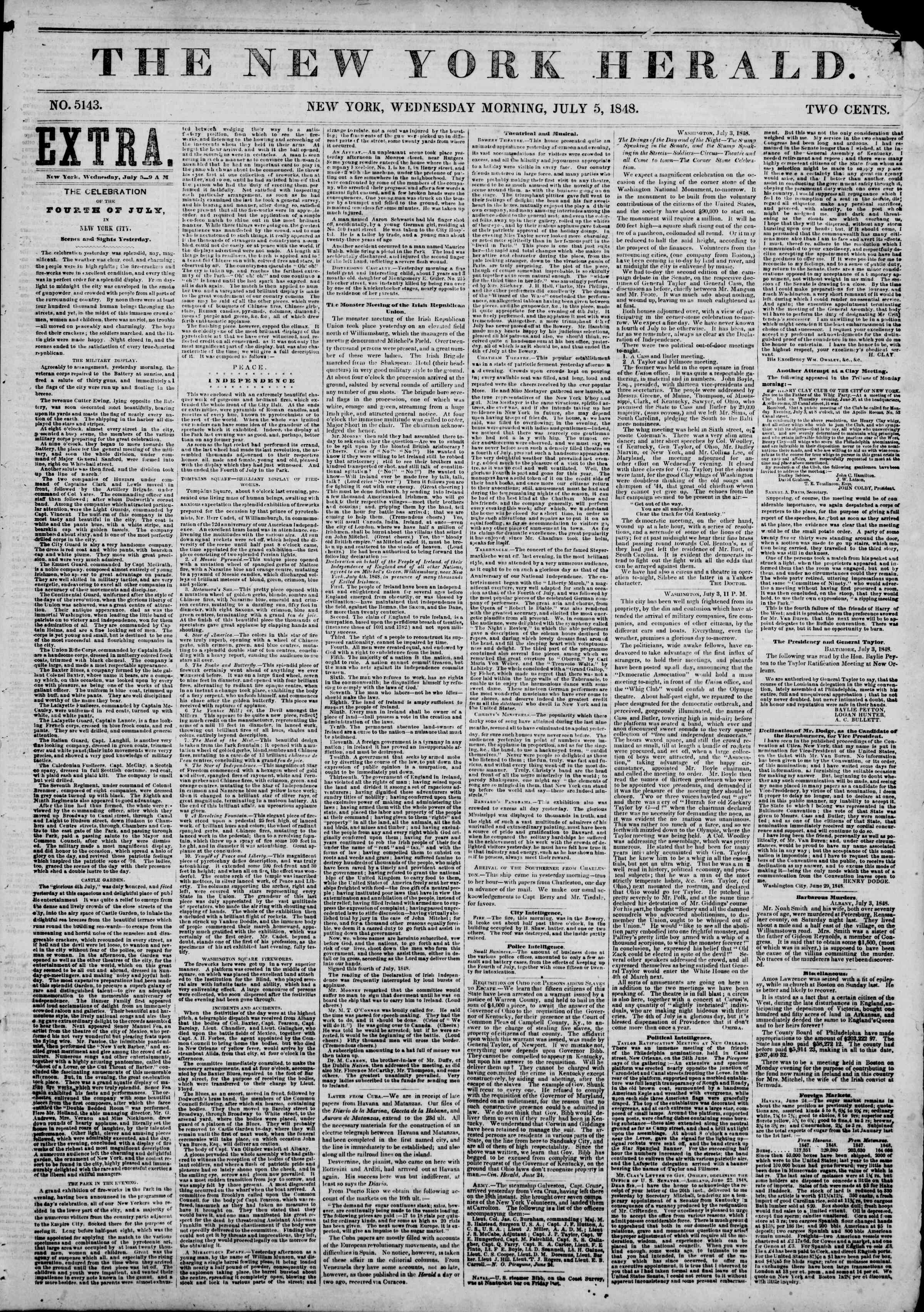 Newspaper of The New York Herald dated July 5, 1848 Page 1