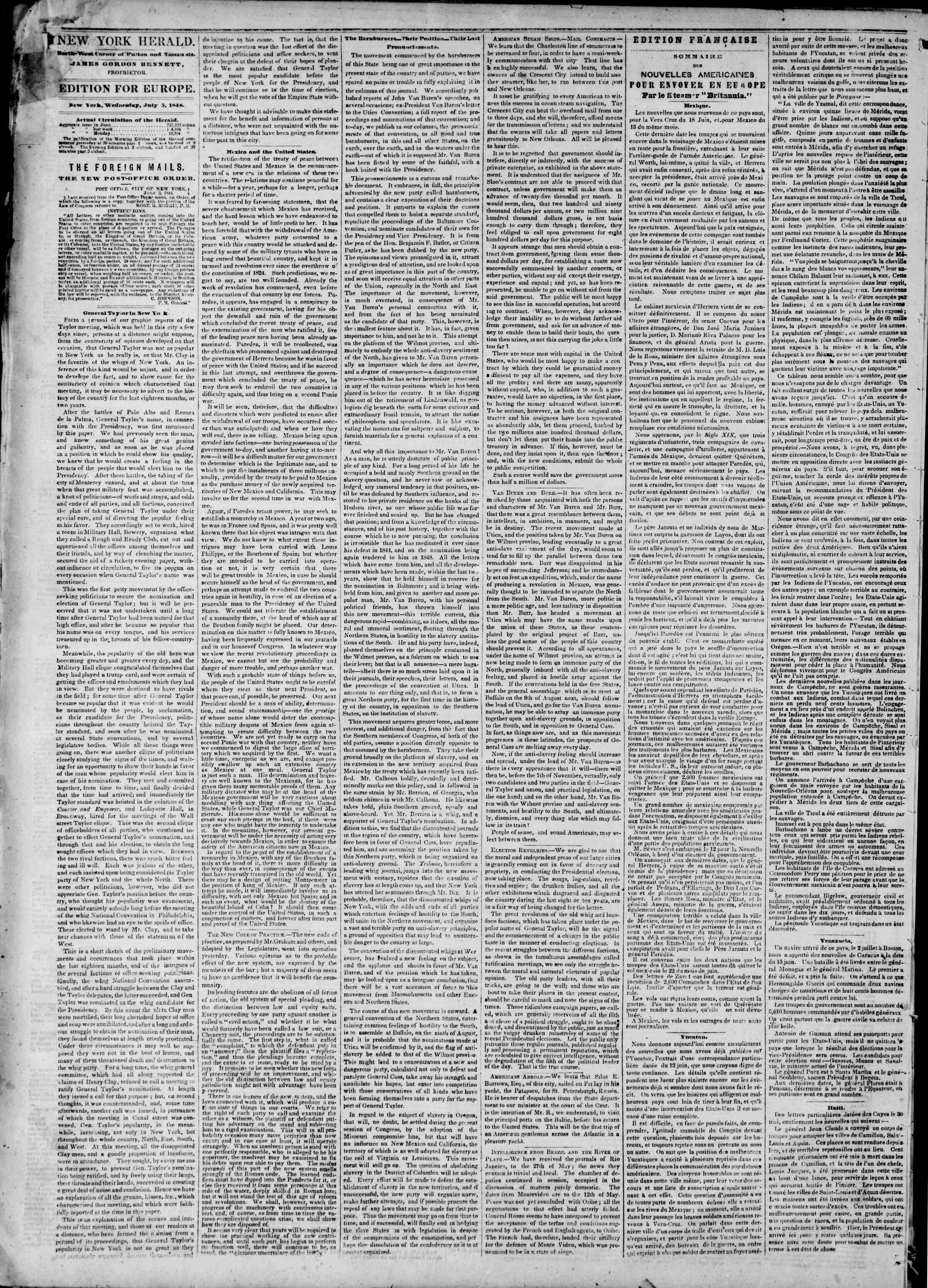 Newspaper of The New York Herald dated July 5, 1848 Page 2