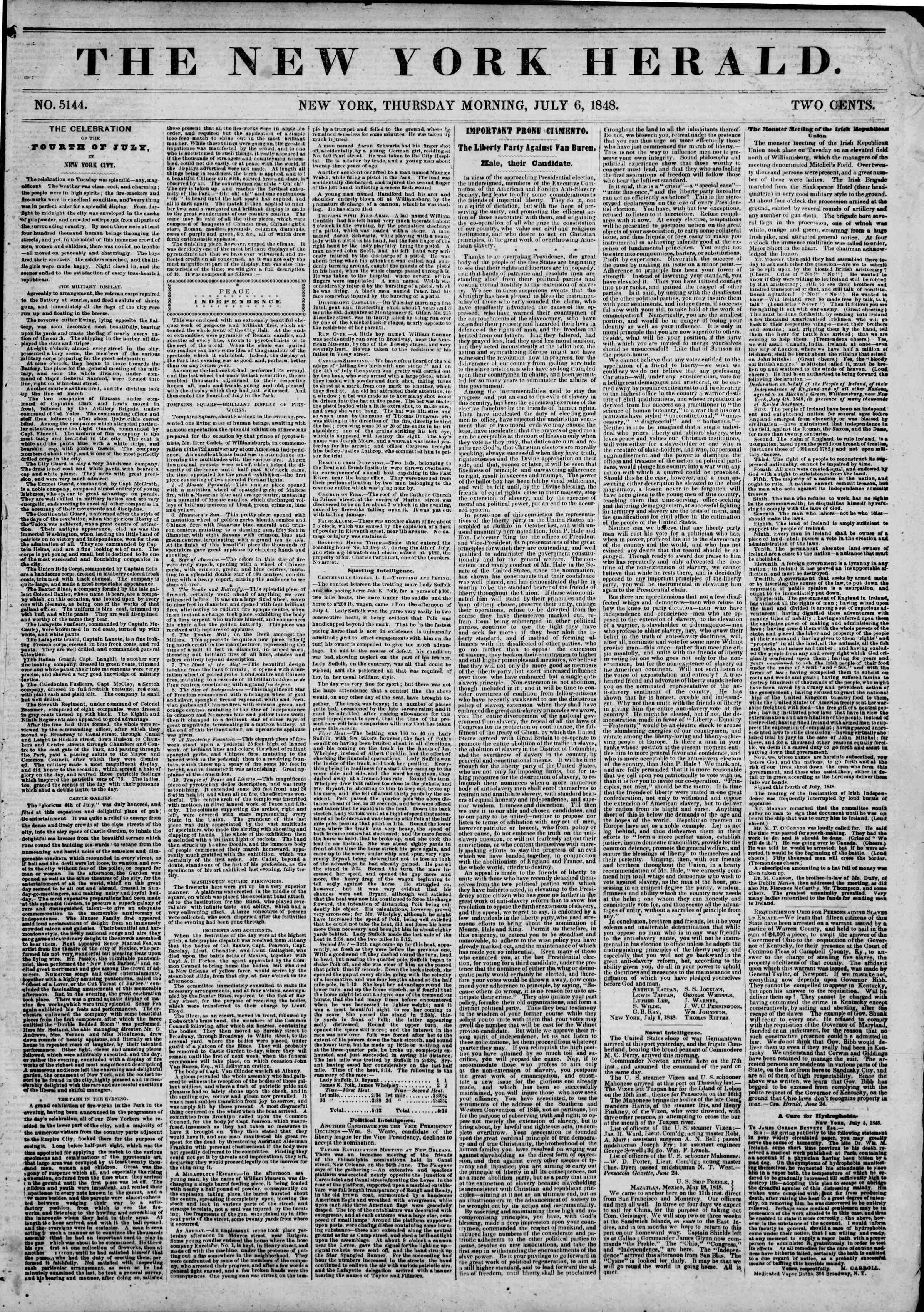Newspaper of The New York Herald dated July 6, 1848 Page 1