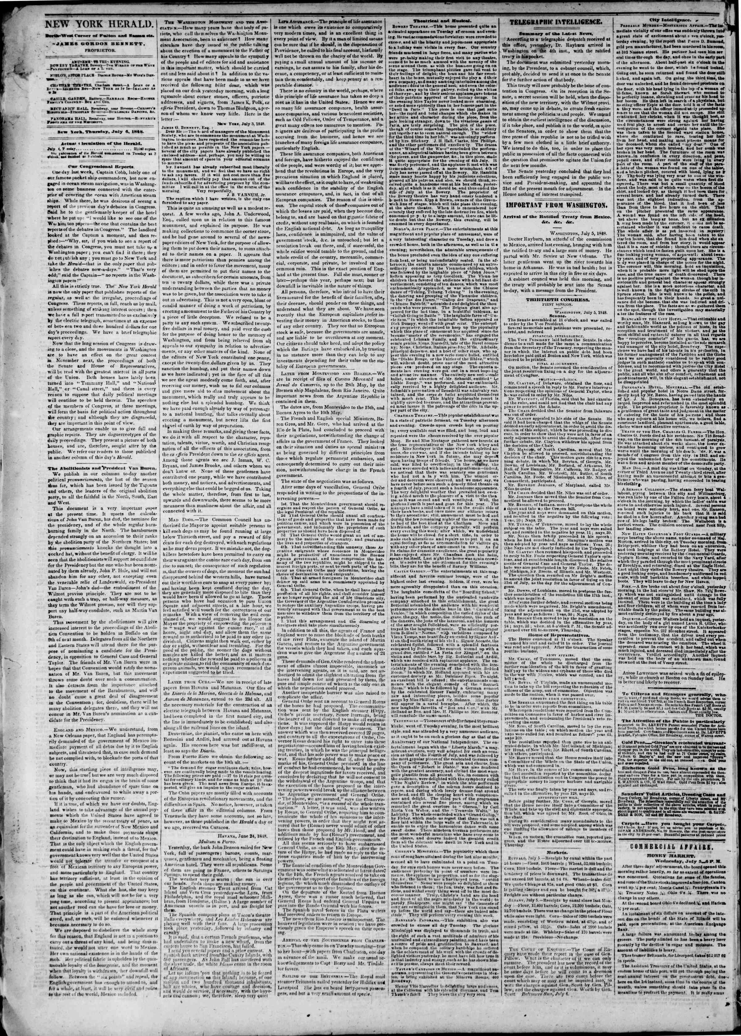 Newspaper of The New York Herald dated 6 Temmuz 1848 Page 2