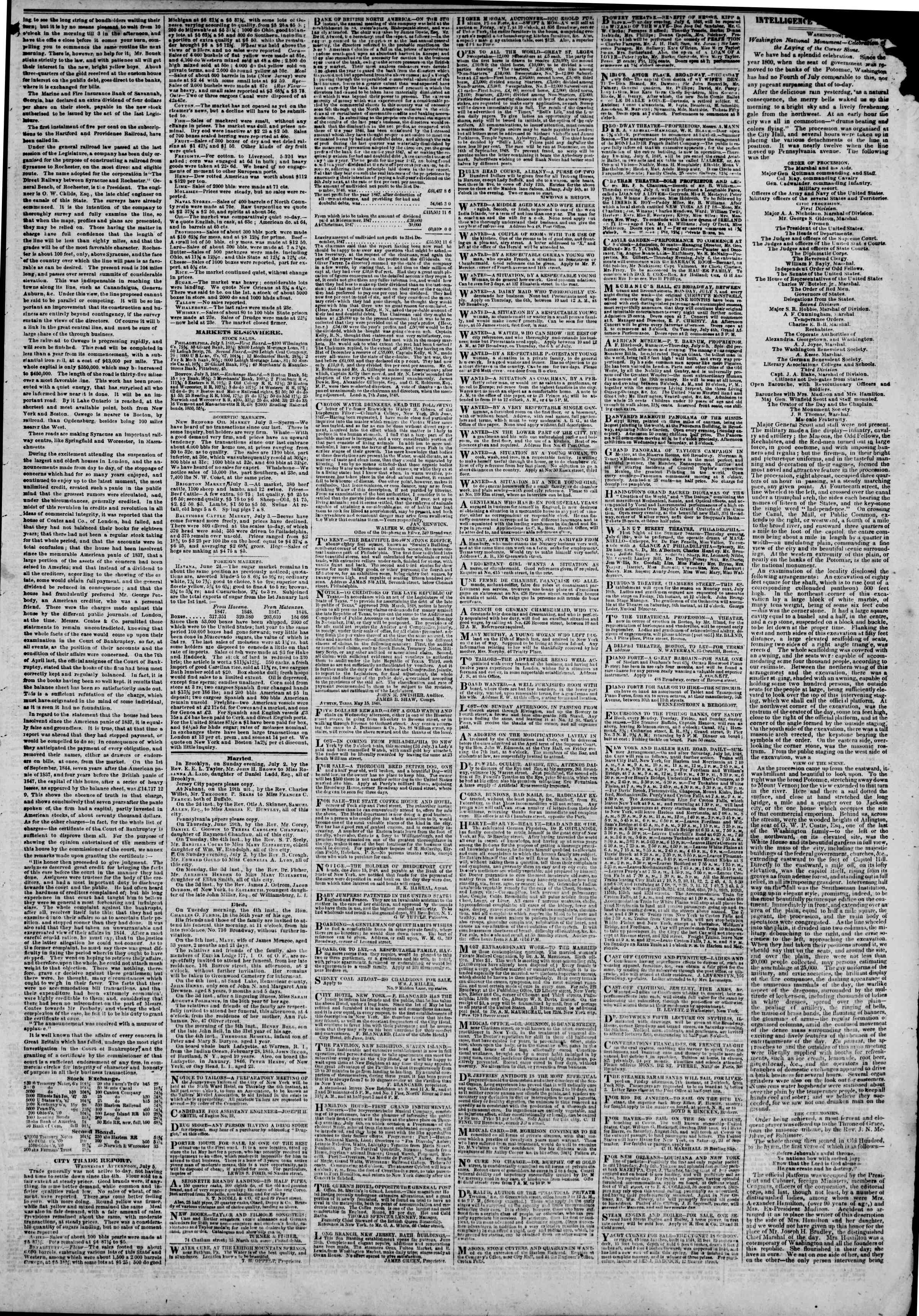 Newspaper of The New York Herald dated July 6, 1848 Page 3