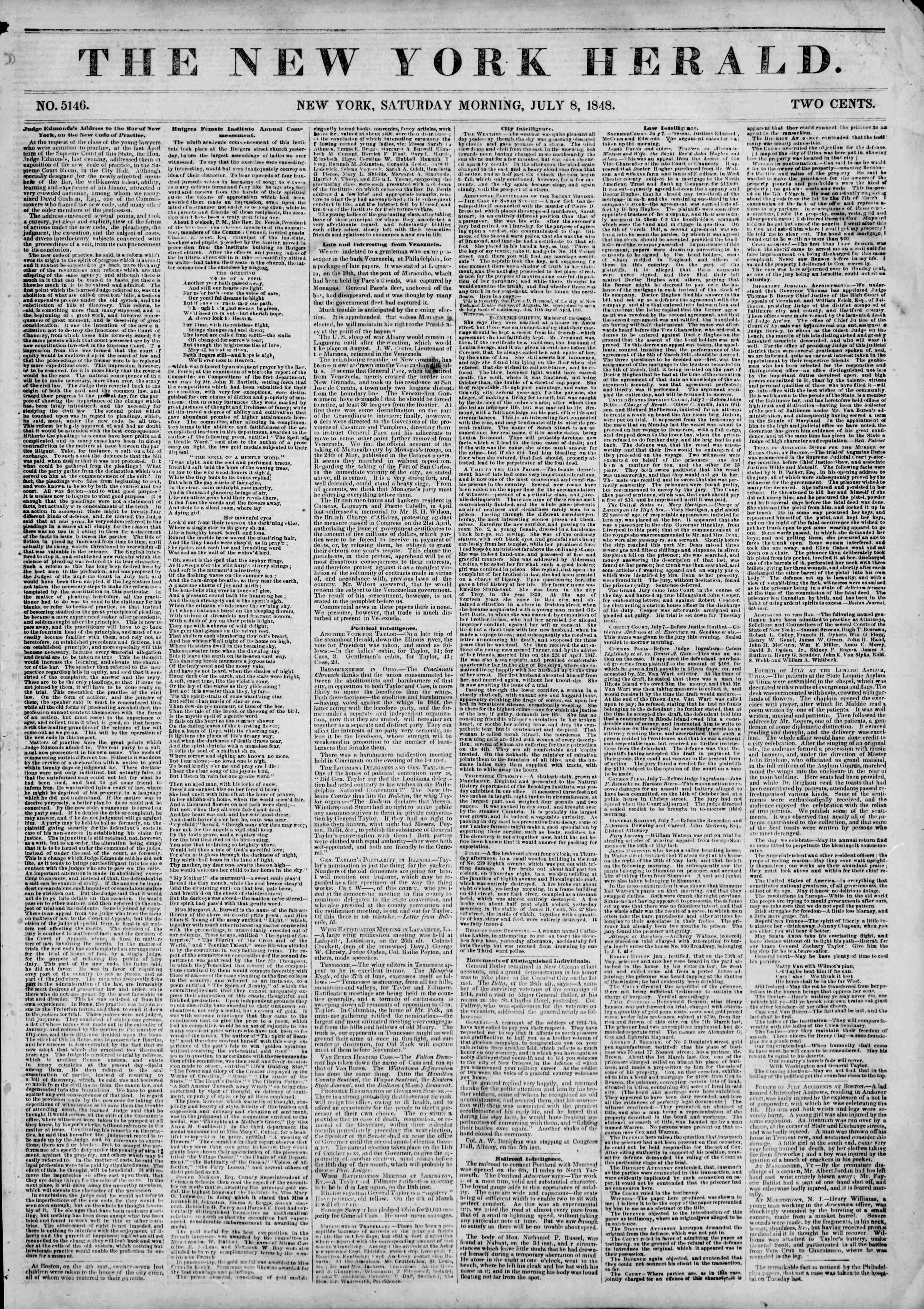 Newspaper of The New York Herald dated July 8, 1848 Page 1