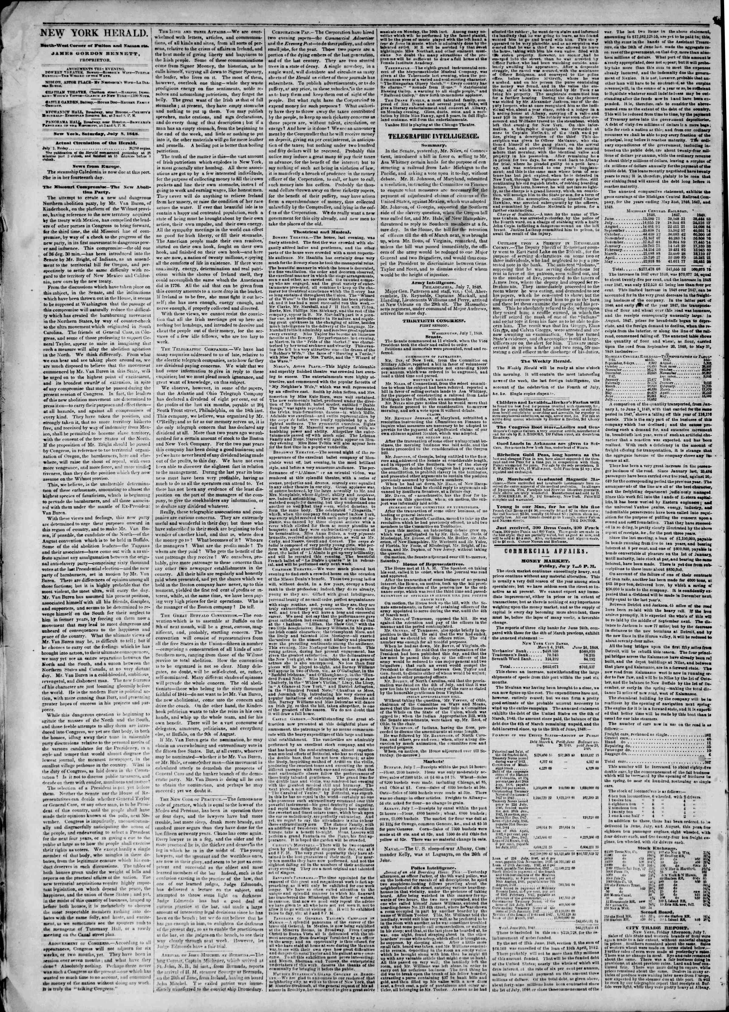 Newspaper of The New York Herald dated July 8, 1848 Page 2