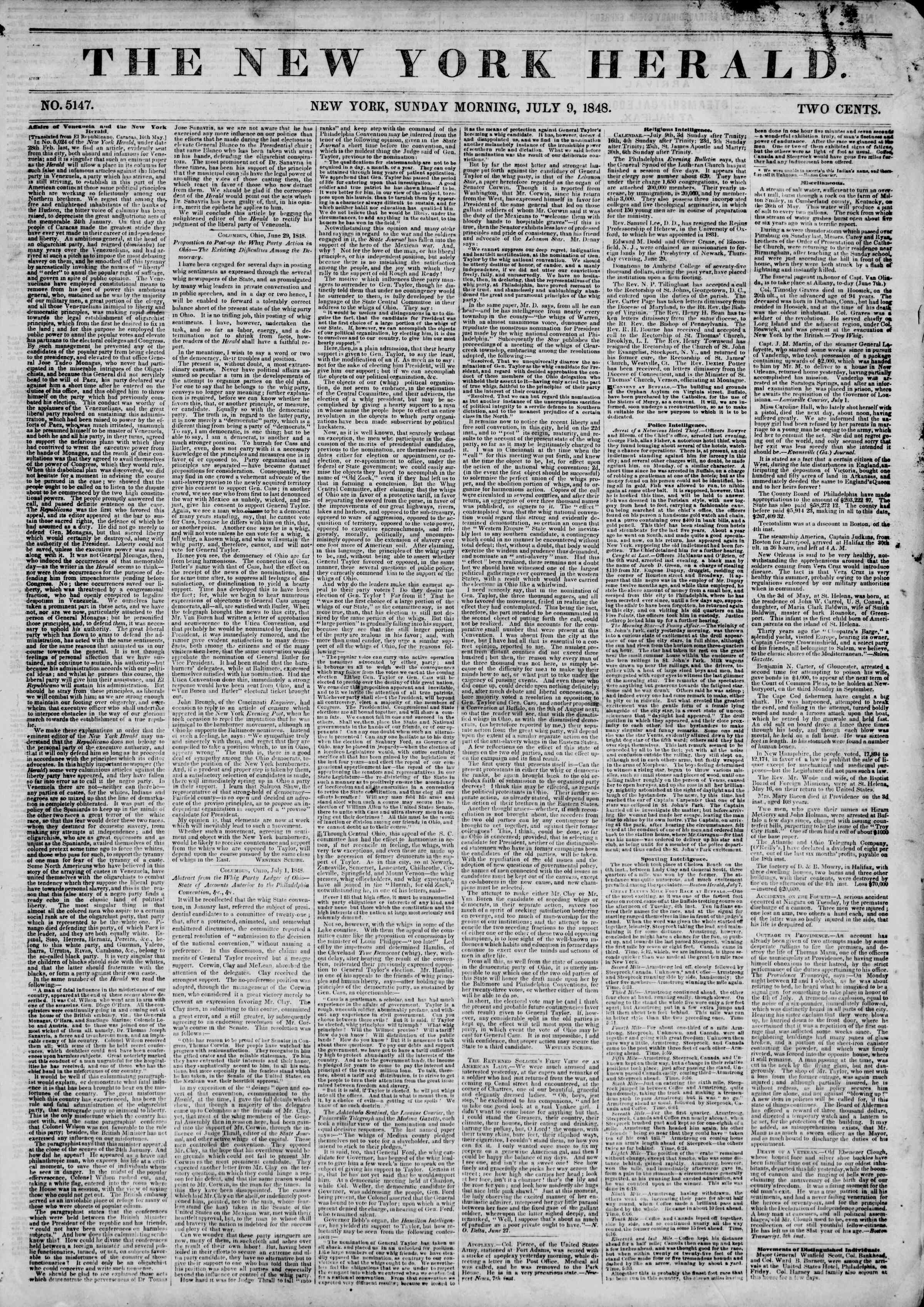 Newspaper of The New York Herald dated July 9, 1848 Page 1