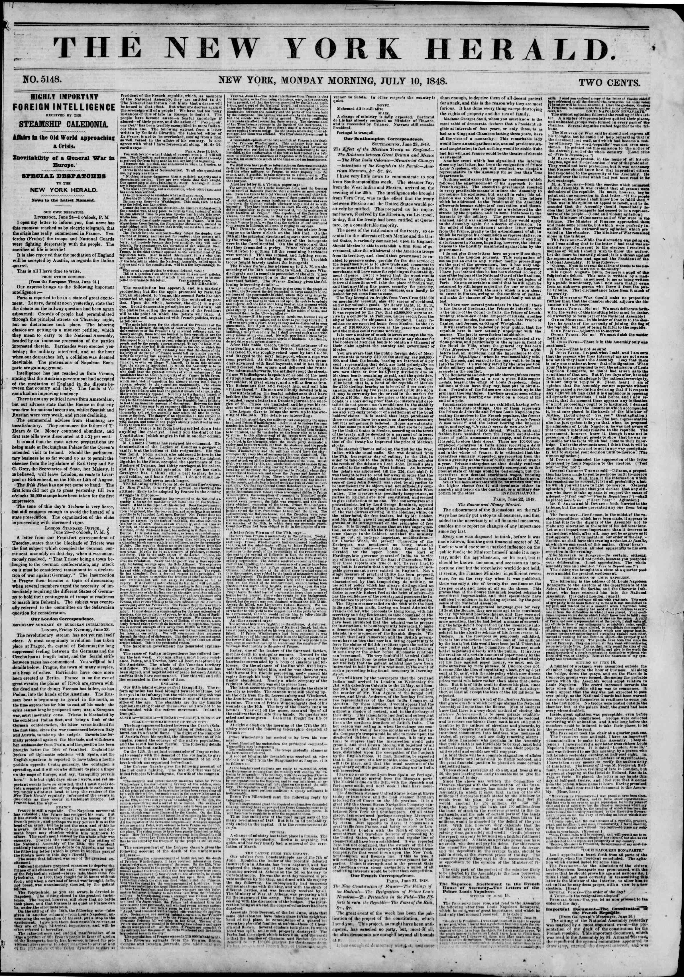 Newspaper of The New York Herald dated July 10, 1848 Page 1