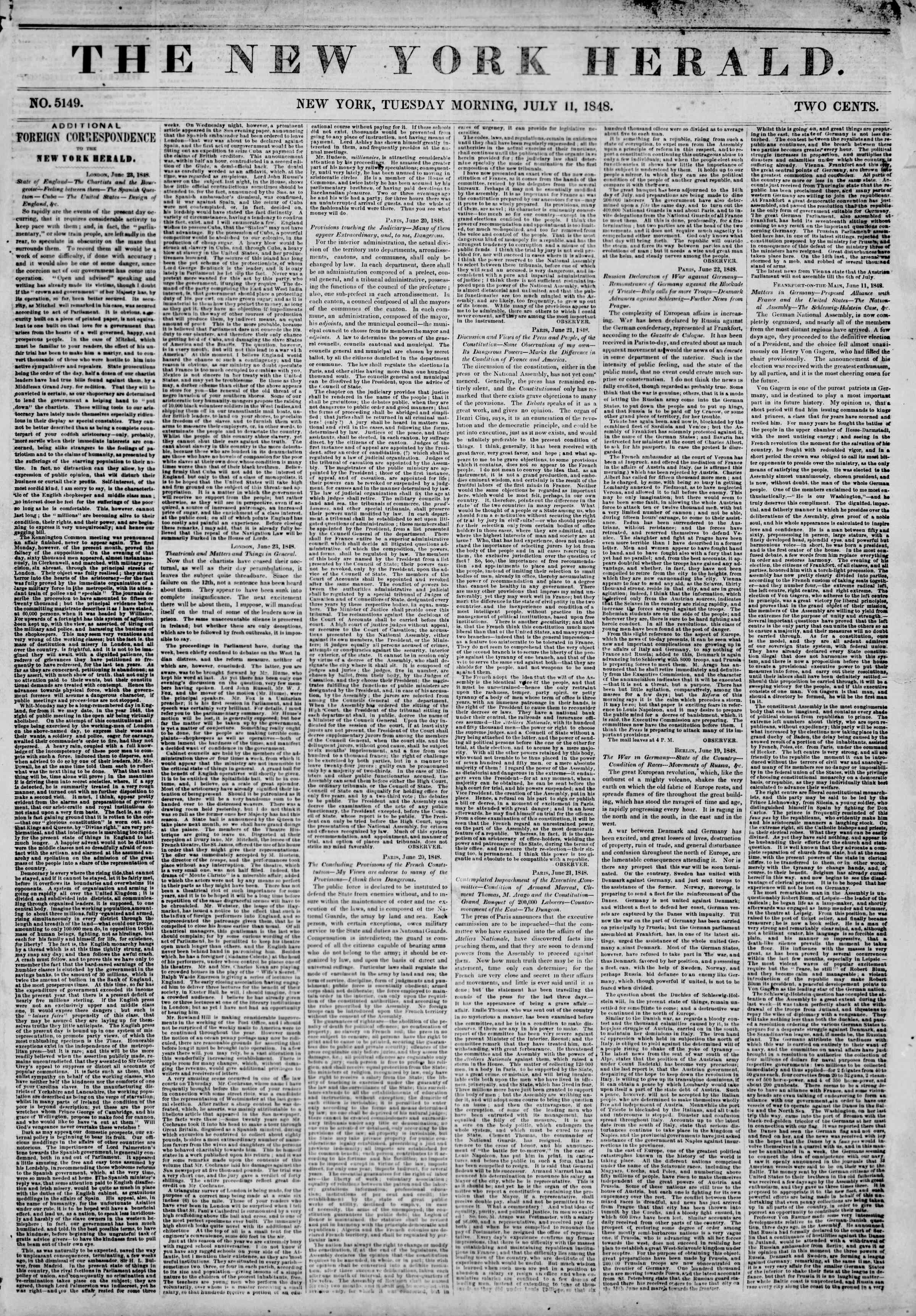Newspaper of The New York Herald dated July 11, 1848 Page 1