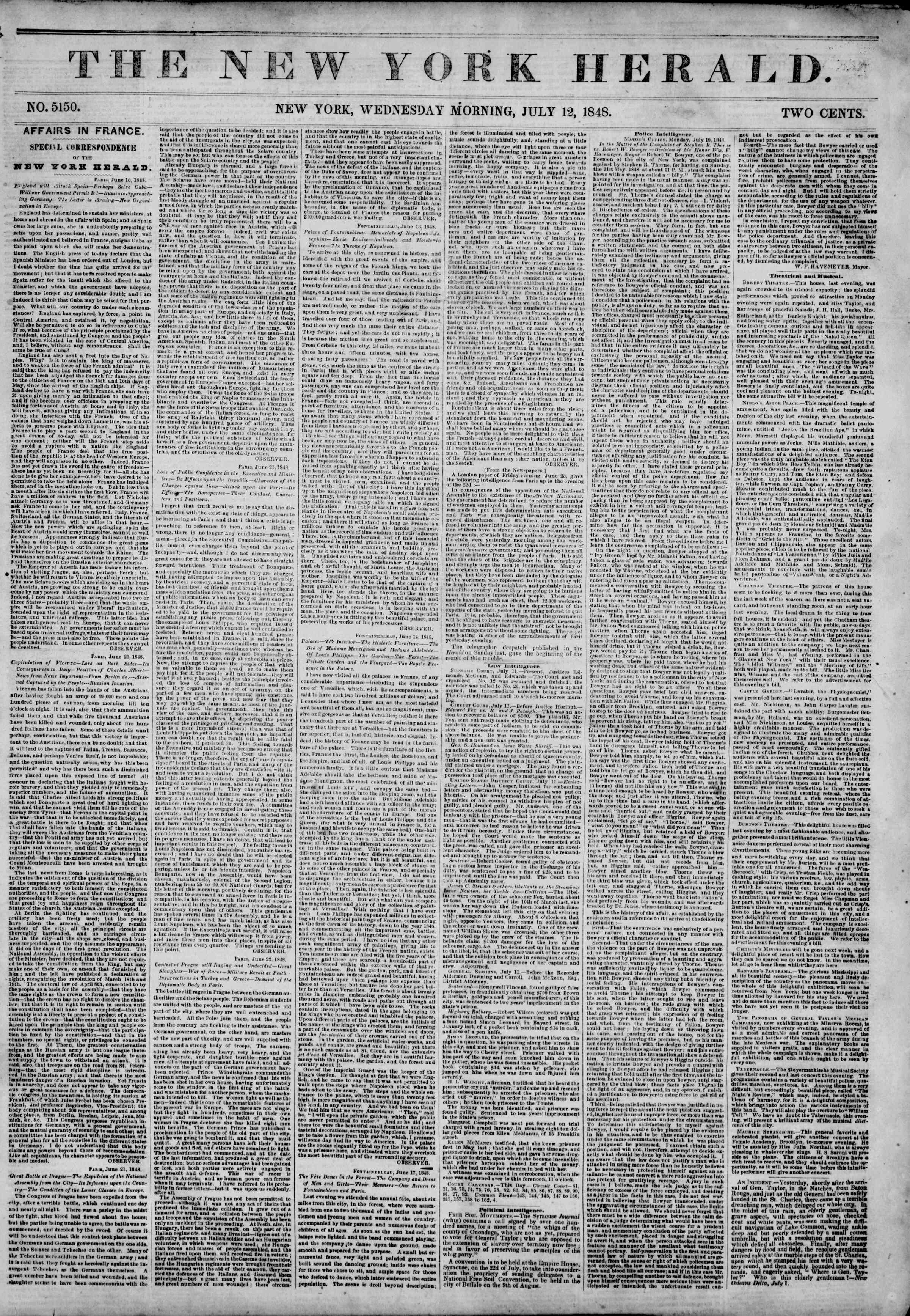 Newspaper of The New York Herald dated July 12, 1848 Page 1