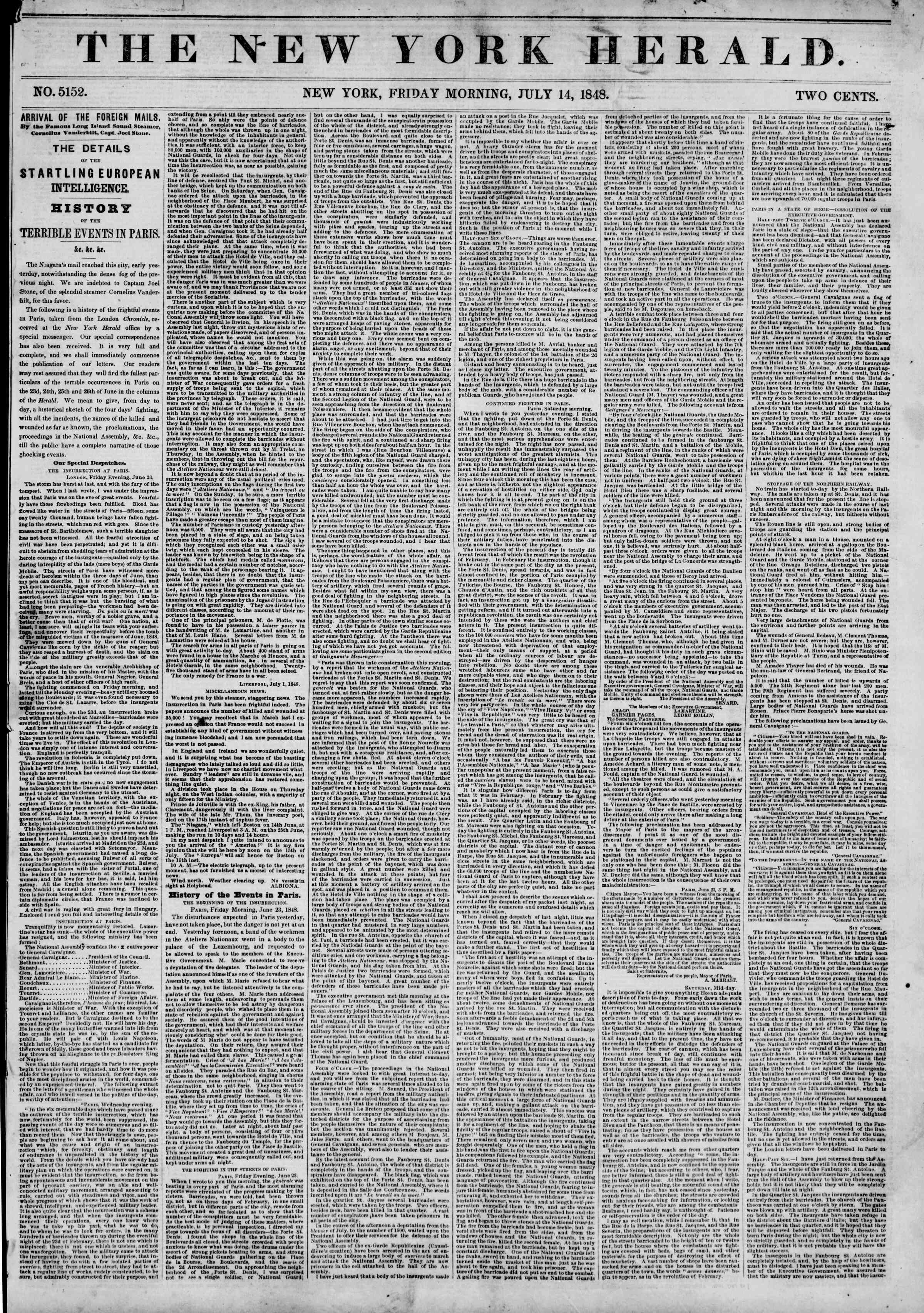 Newspaper of The New York Herald dated July 14, 1848 Page 1