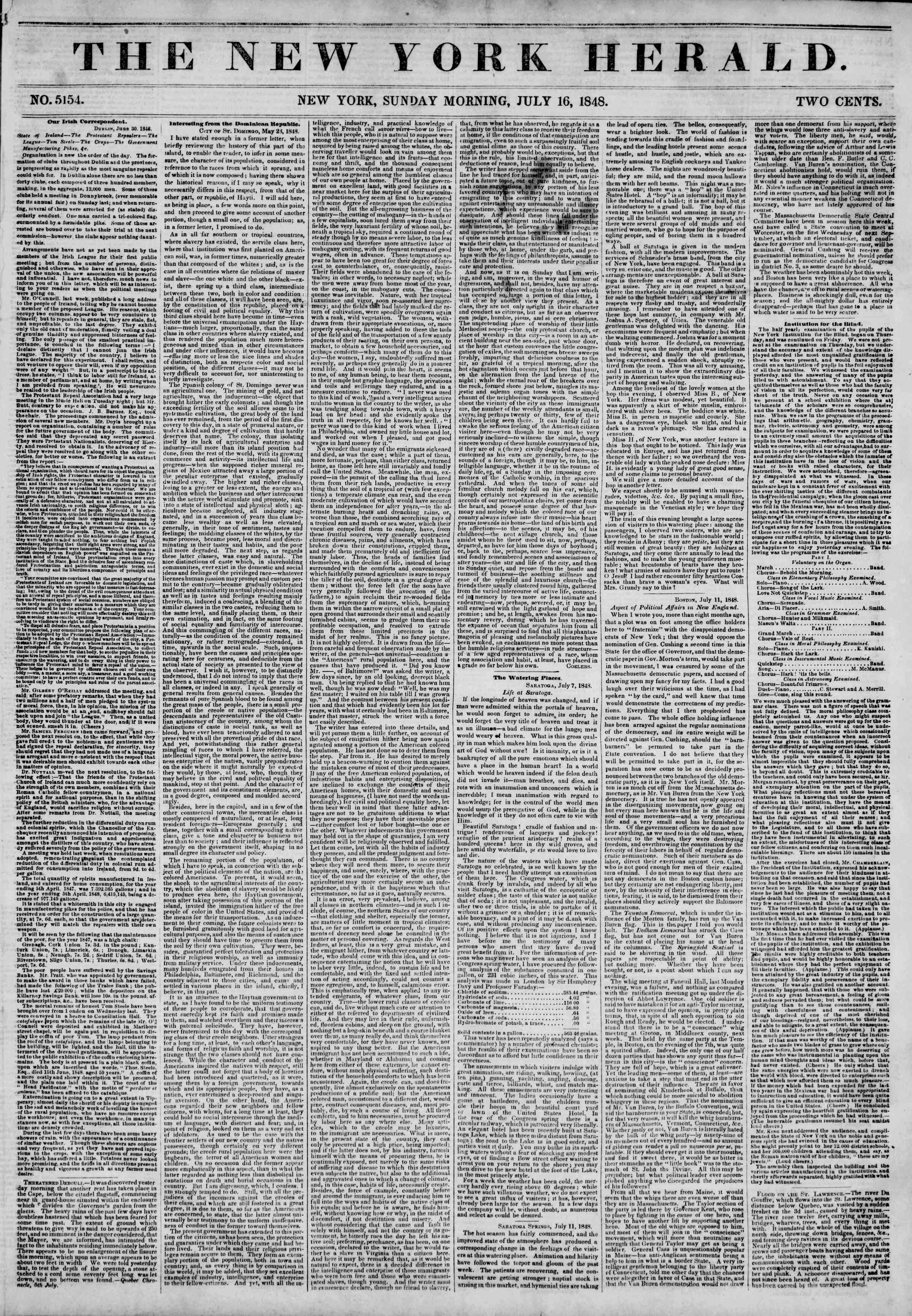 Newspaper of The New York Herald dated July 16, 1848 Page 1