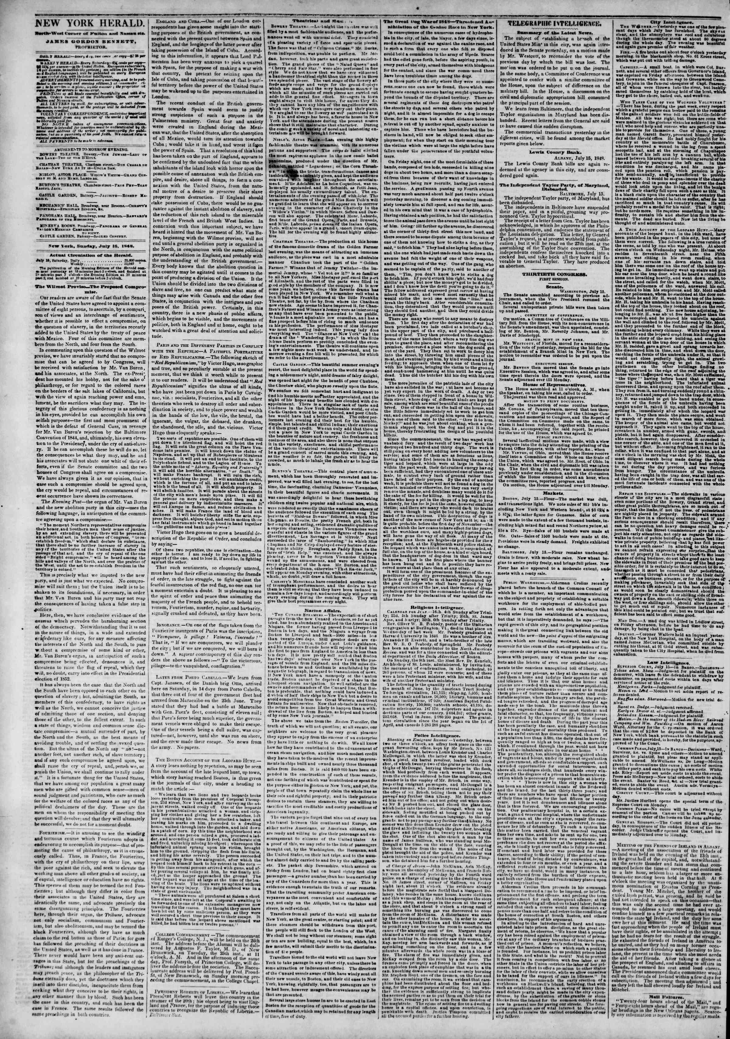 16 Temmuz 1848 tarihli The New York Herald Gazetesi Sayfa 2