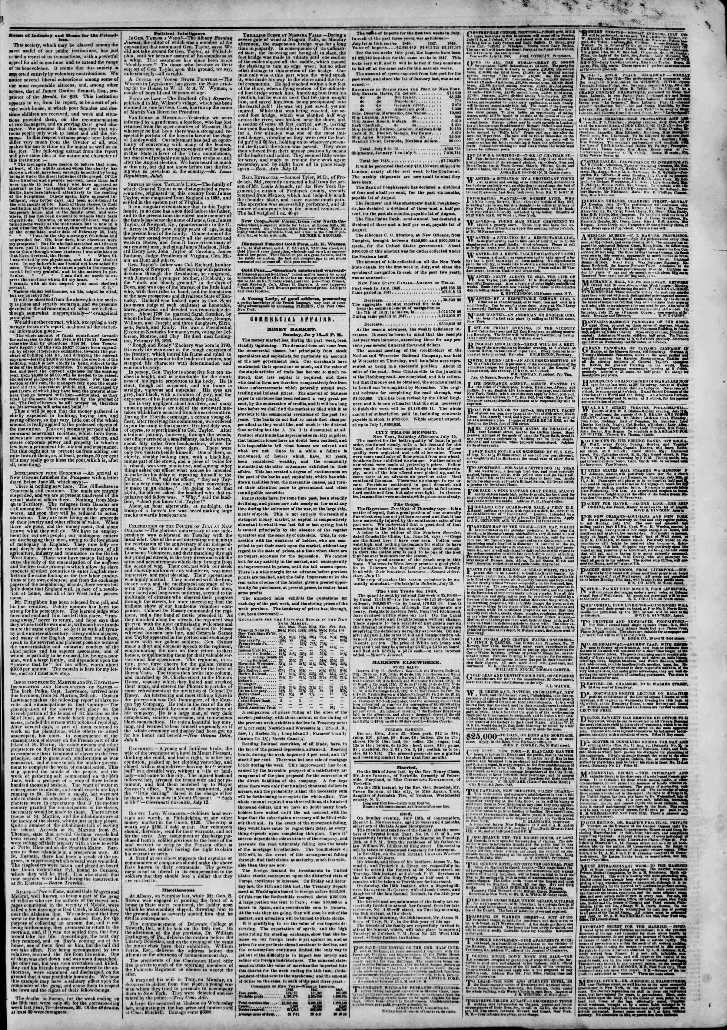 Newspaper of The New York Herald dated July 17, 1848 Page 3