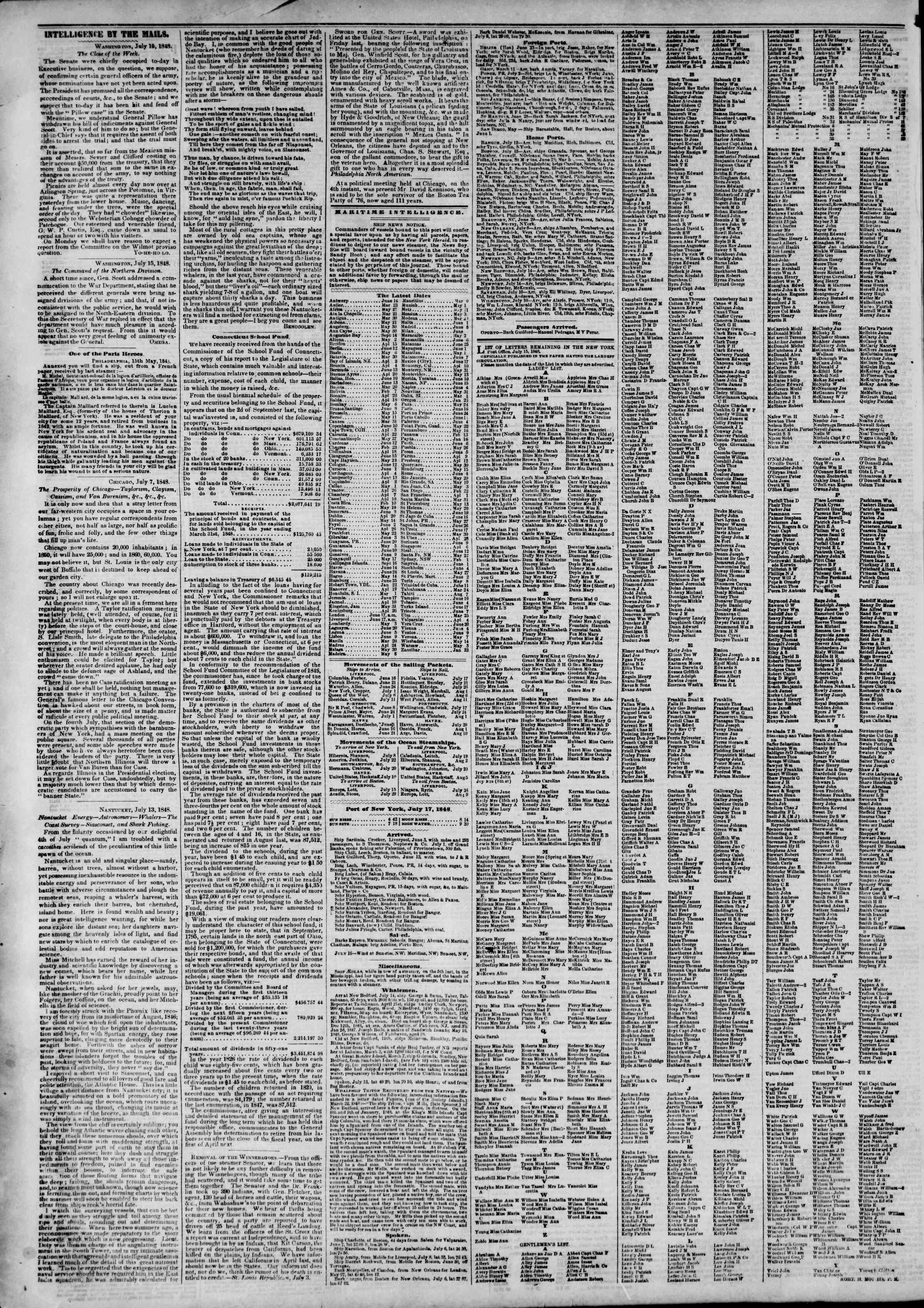 Newspaper of The New York Herald dated July 17, 1848 Page 4