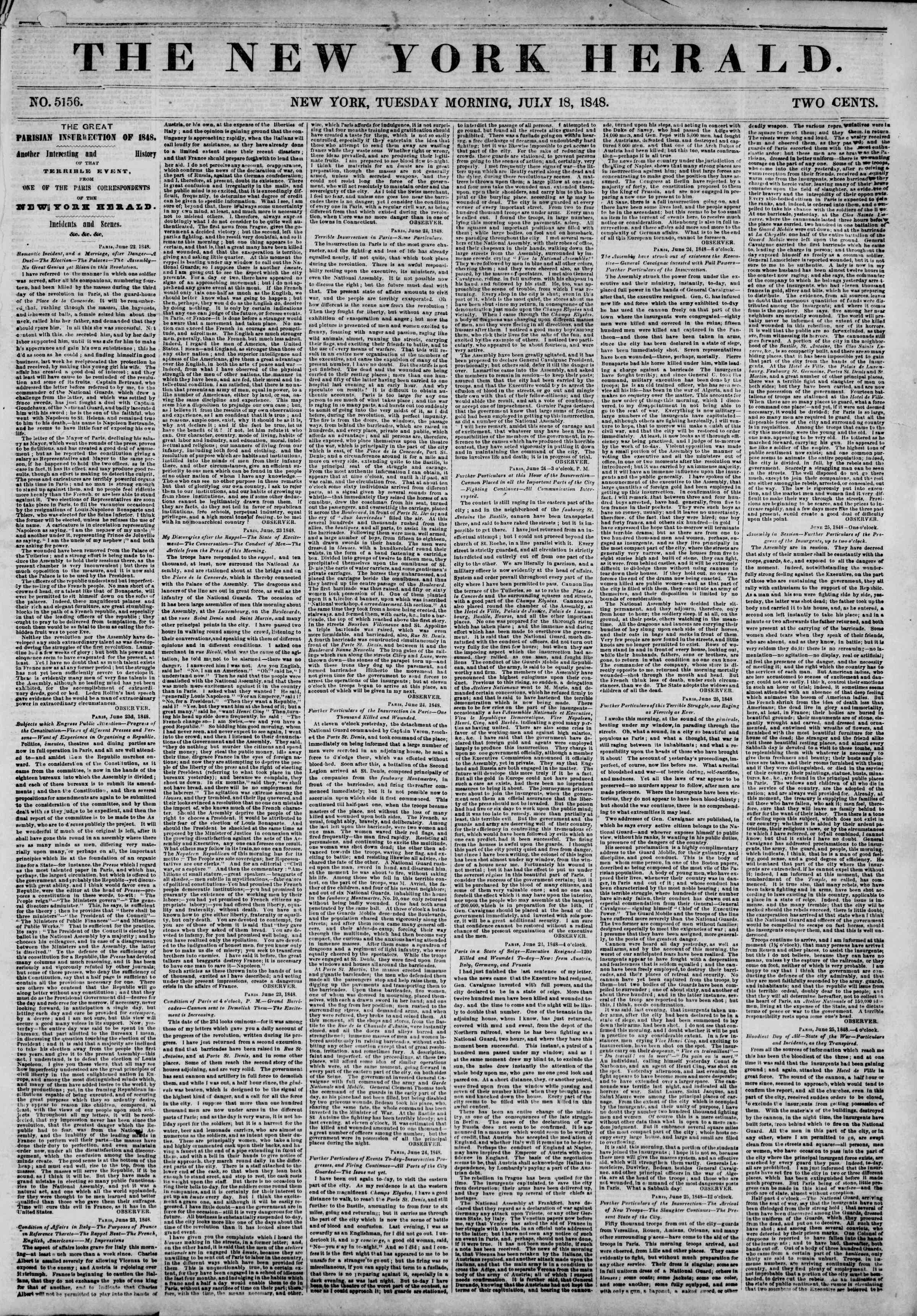 Newspaper of The New York Herald dated July 18, 1848 Page 1