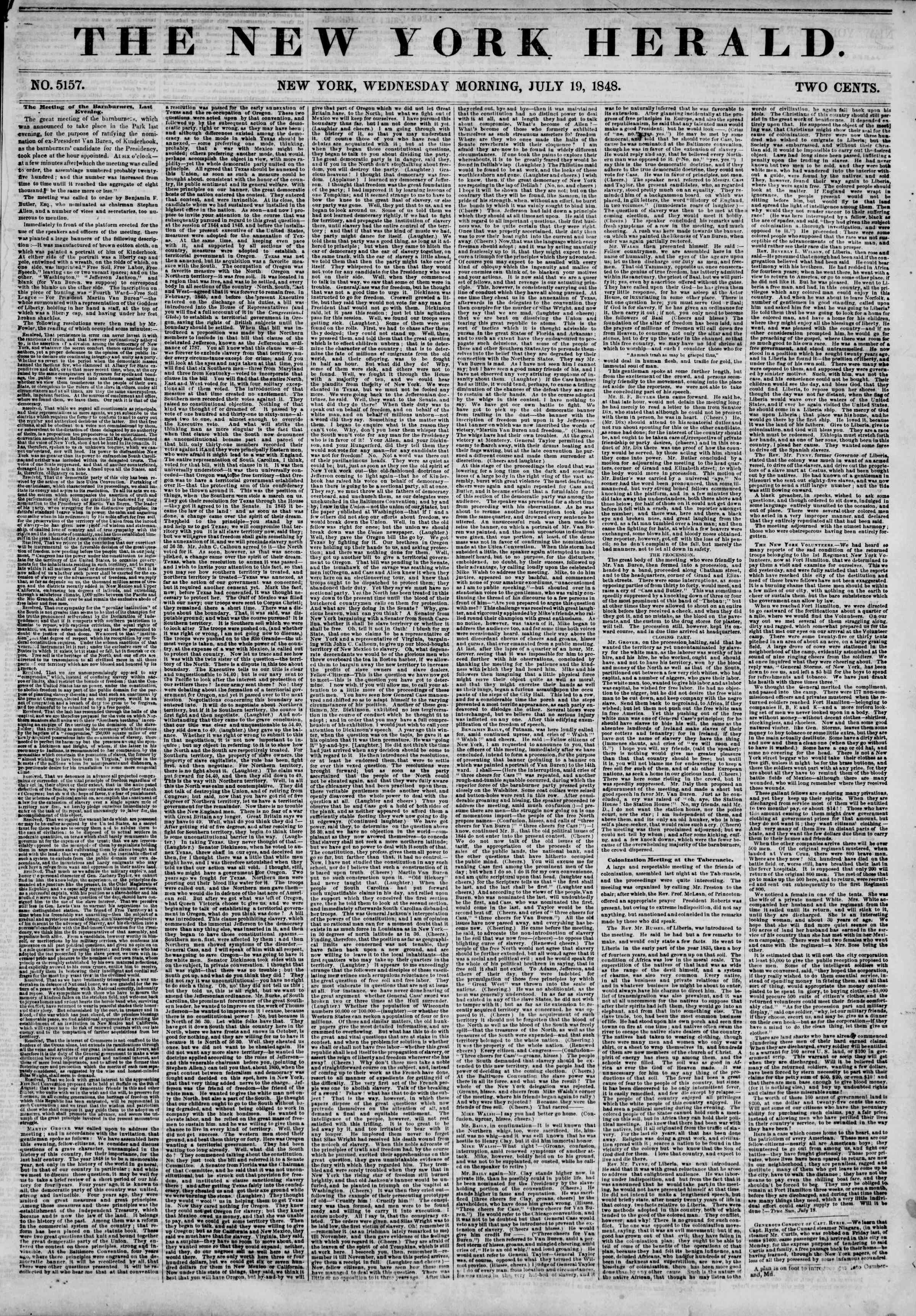 Newspaper of The New York Herald dated July 19, 1848 Page 1