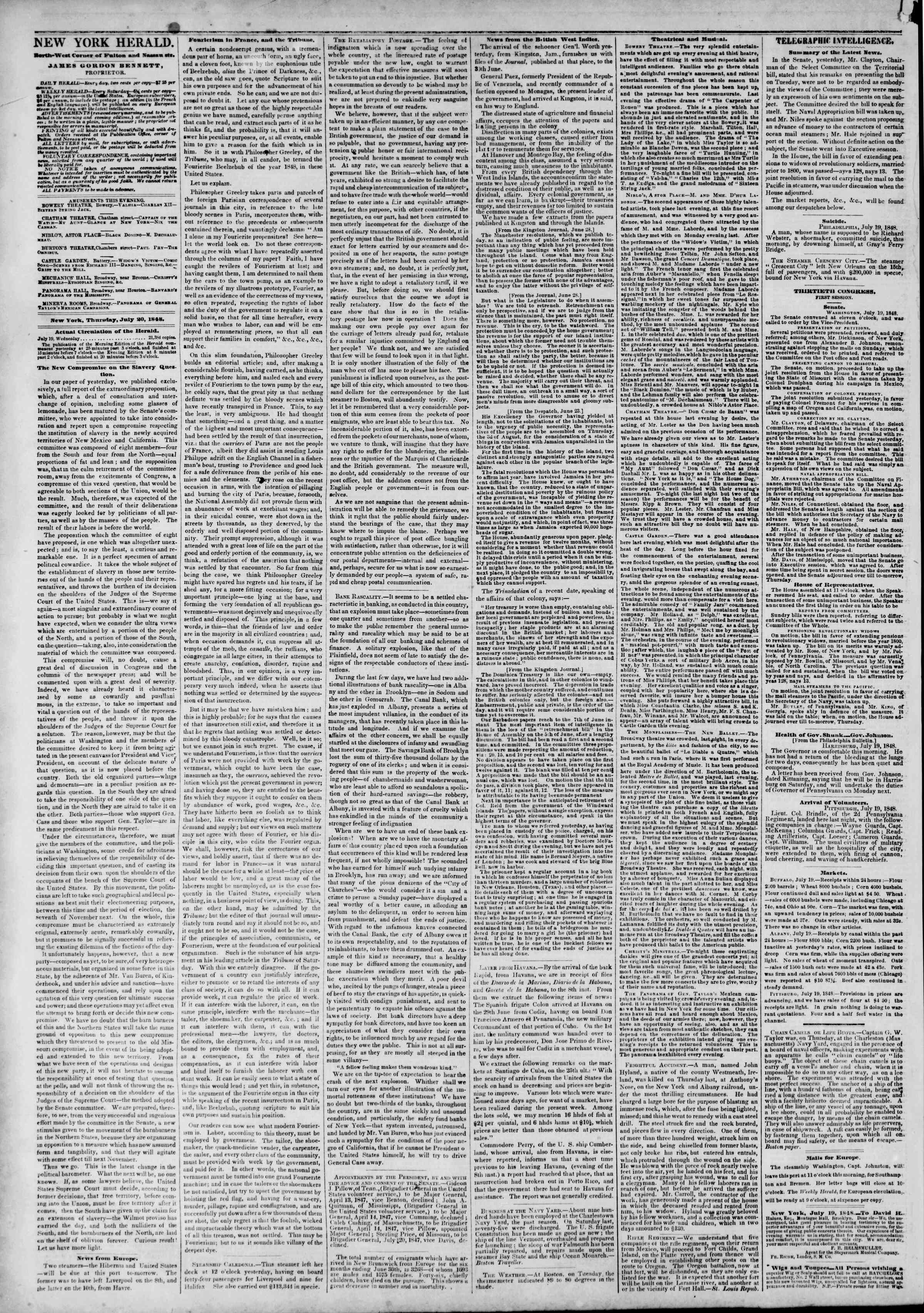 Newspaper of The New York Herald dated July 20, 1848 Page 2