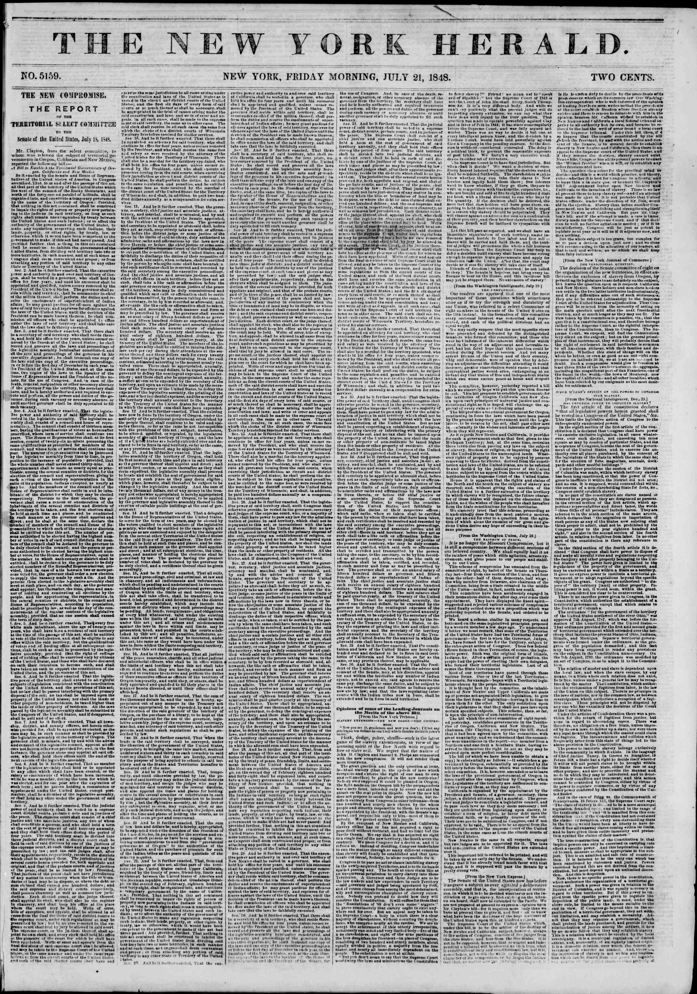 Newspaper of The New York Herald dated July 21, 1848 Page 1