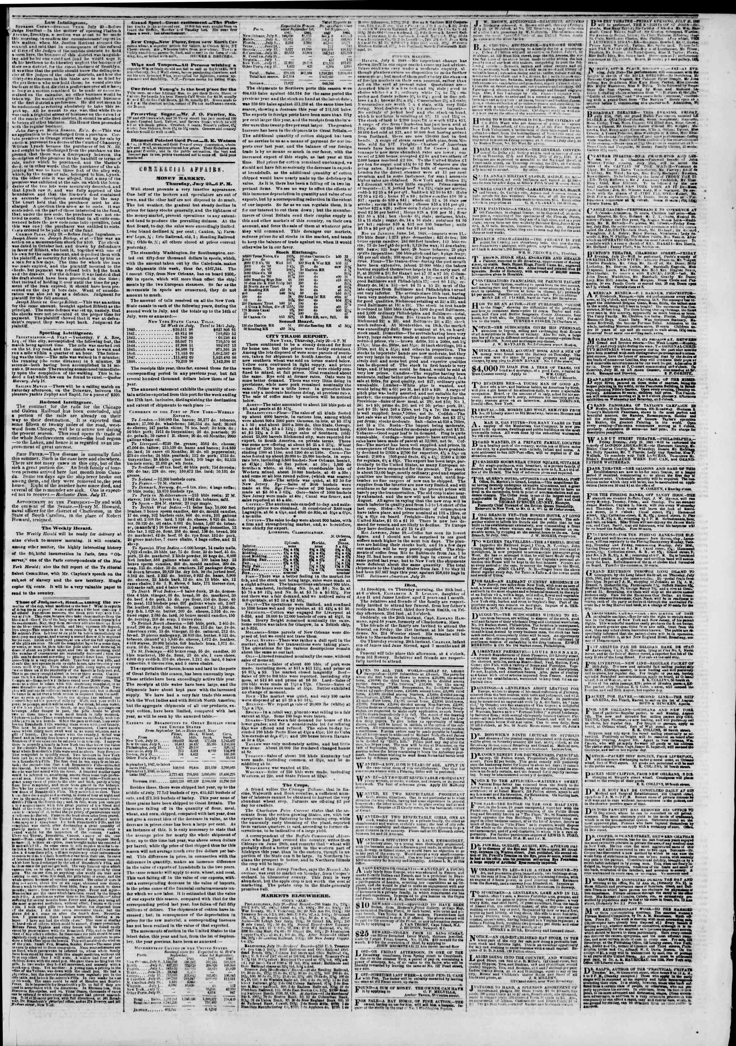 Newspaper of The New York Herald dated July 21, 1848 Page 3