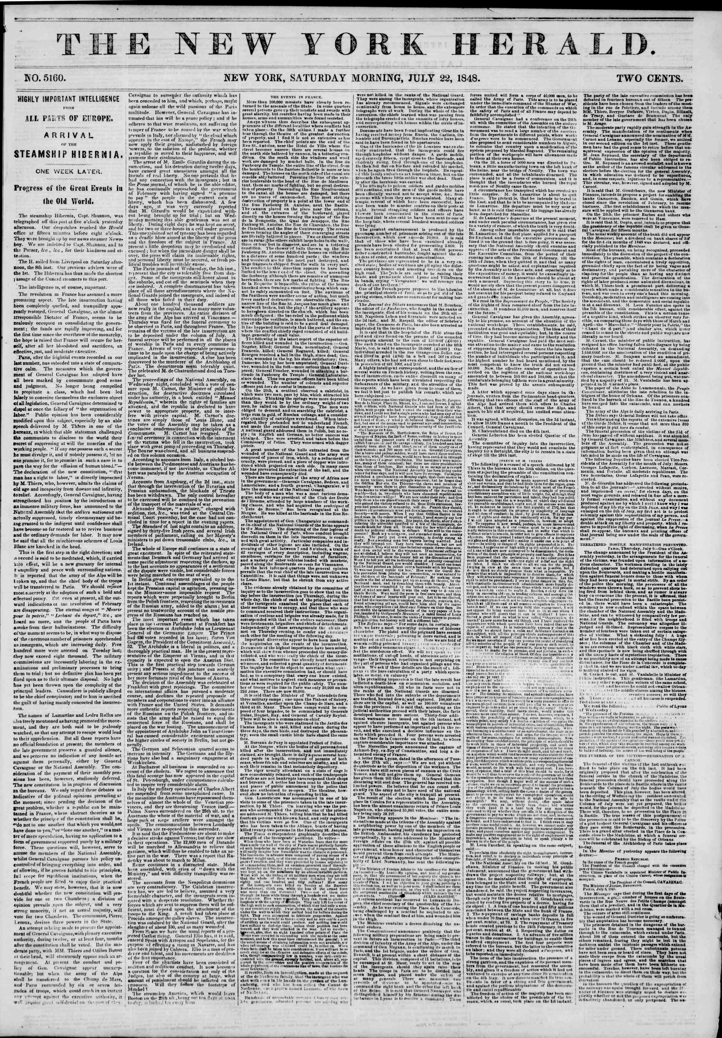 Newspaper of The New York Herald dated July 22, 1848 Page 1