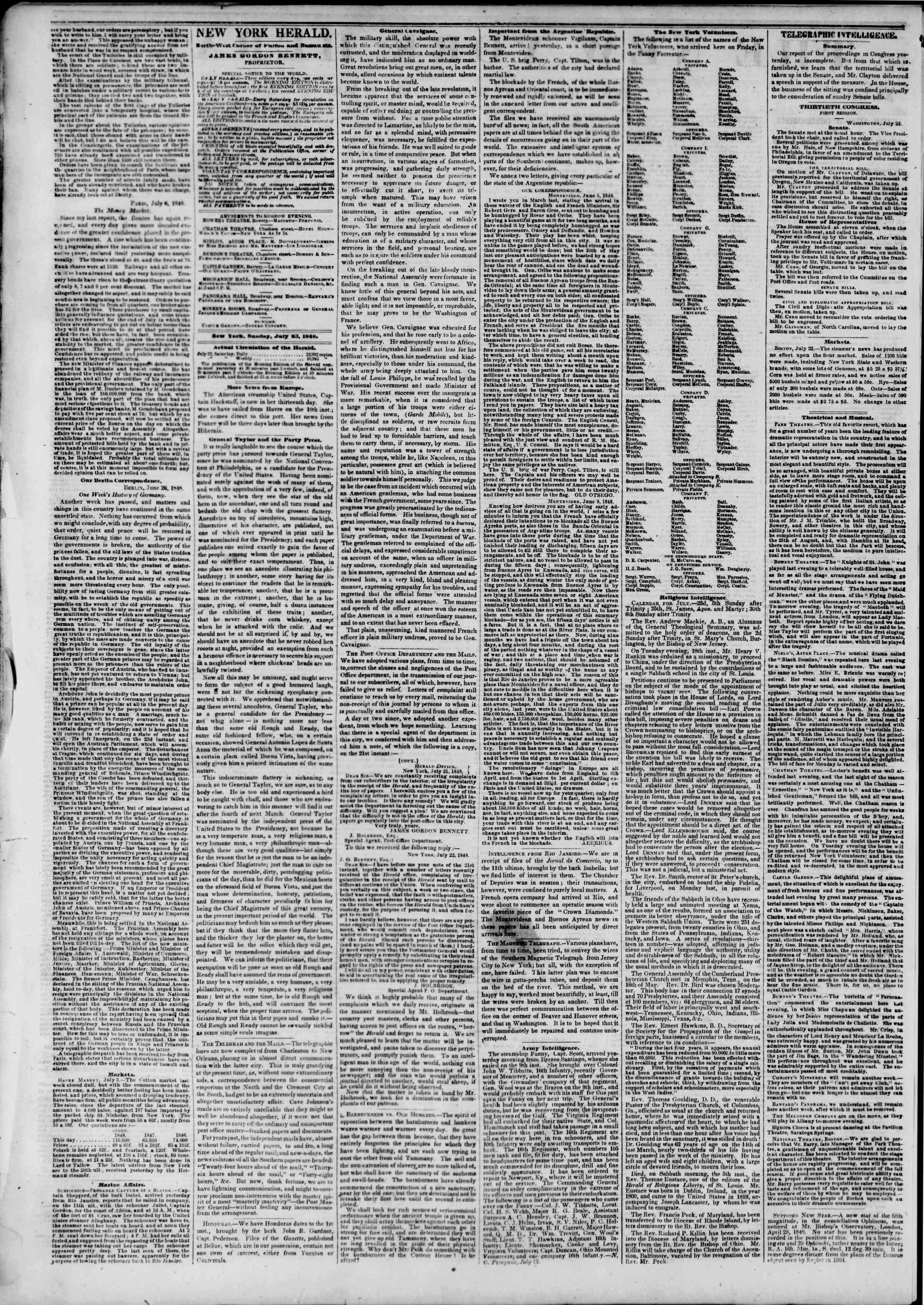 Newspaper of The New York Herald dated July 23, 1848 Page 2