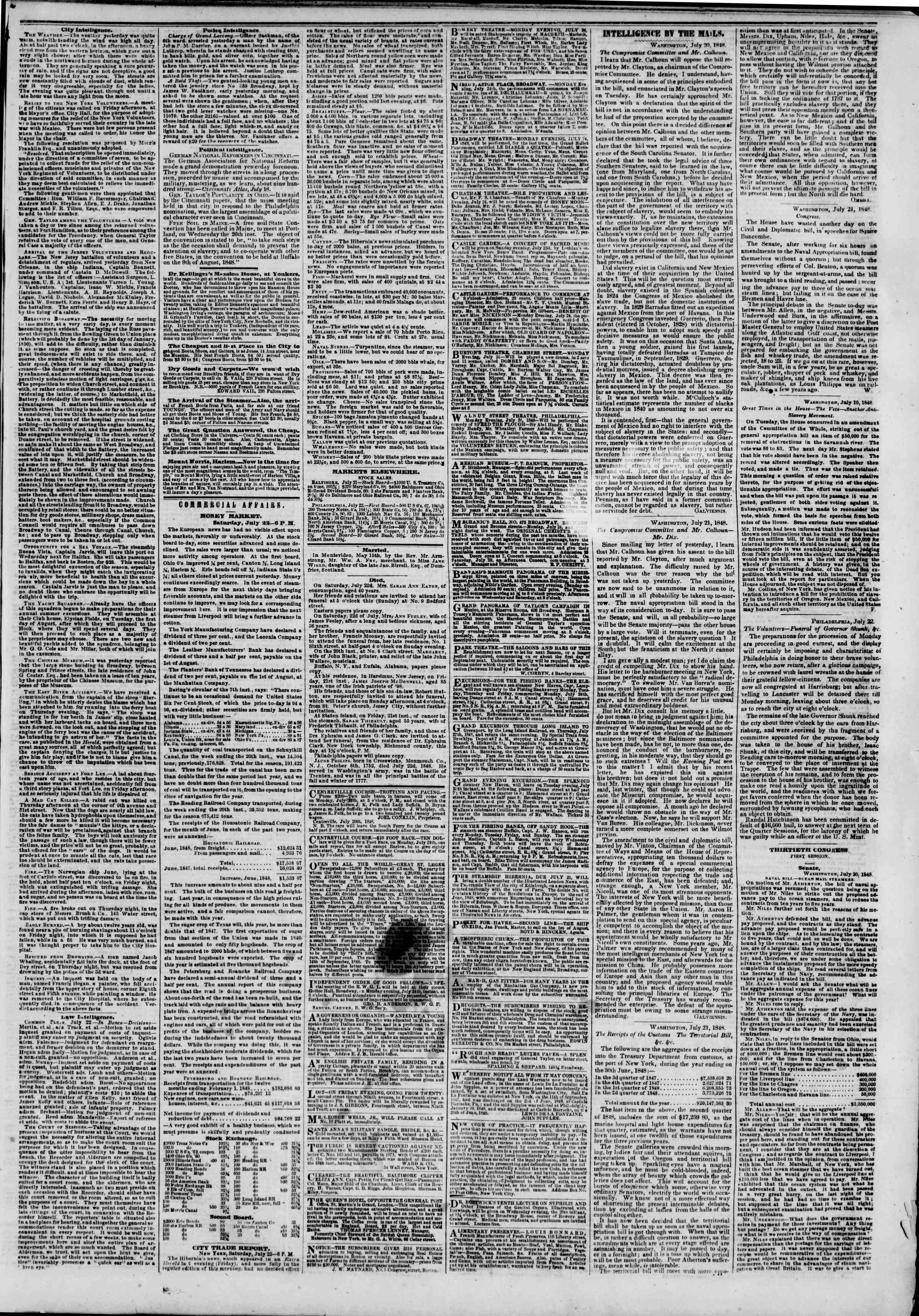 Newspaper of The New York Herald dated July 23, 1848 Page 3