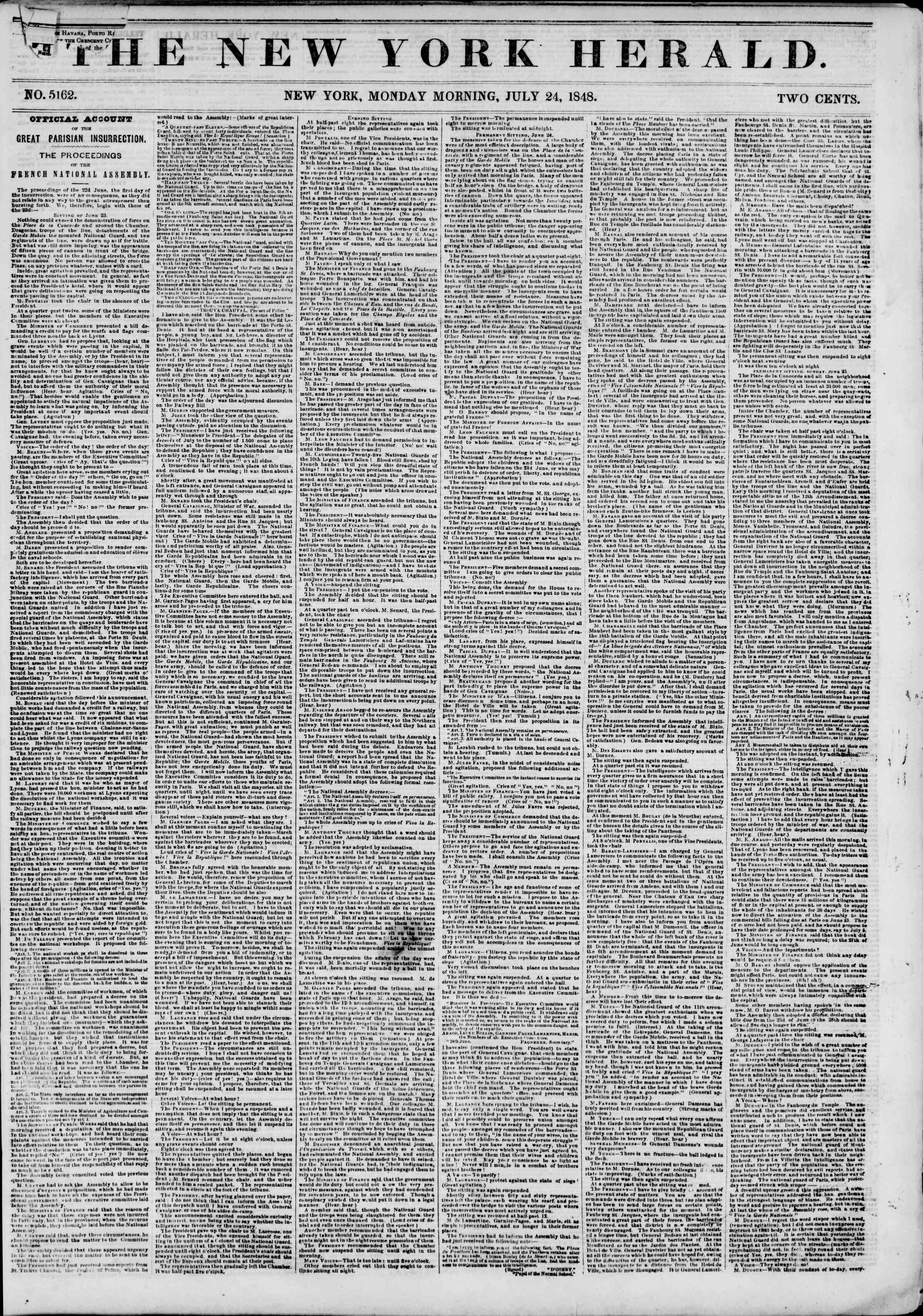 Newspaper of The New York Herald dated July 24, 1848 Page 1