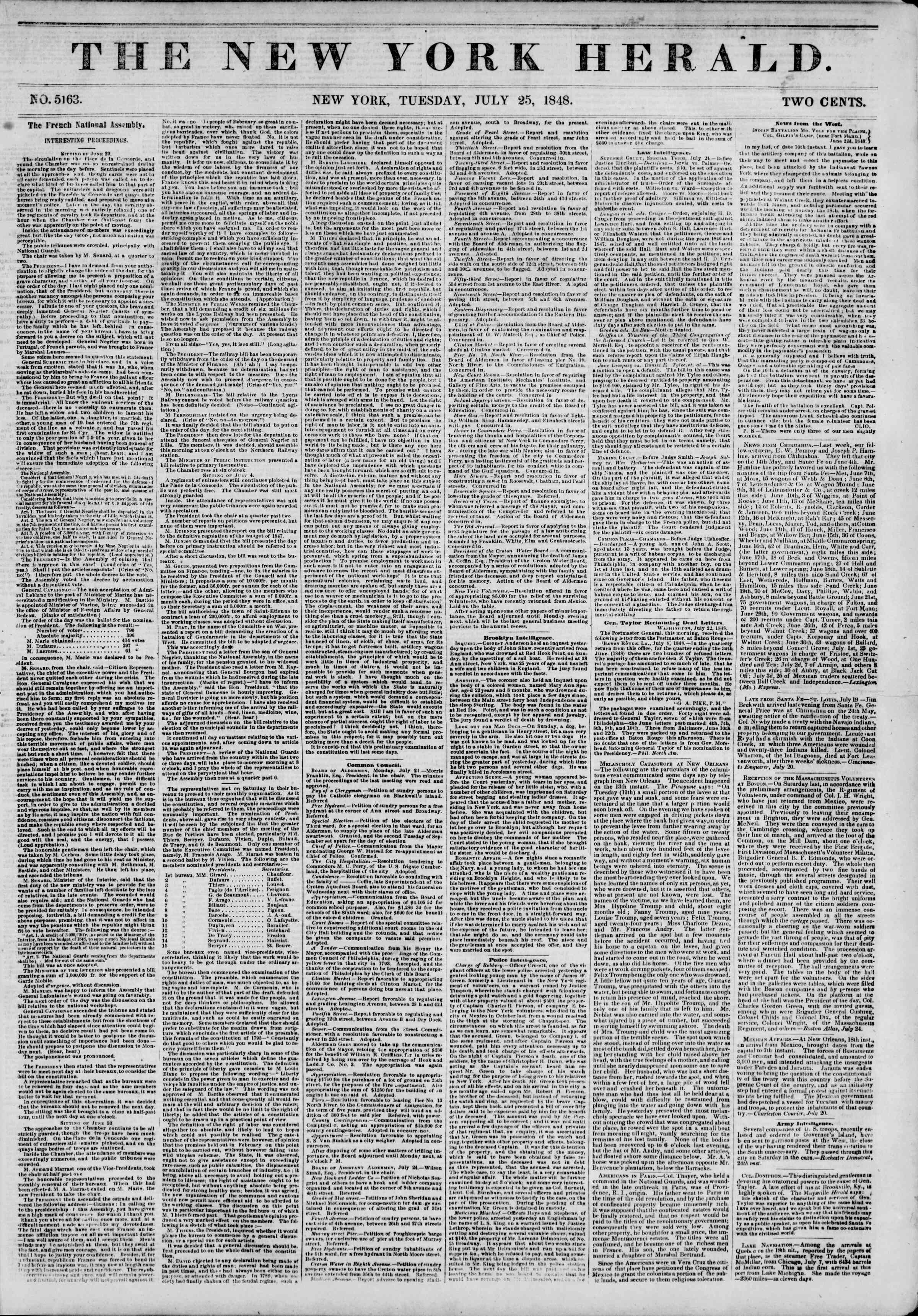 Newspaper of The New York Herald dated July 25, 1848 Page 1