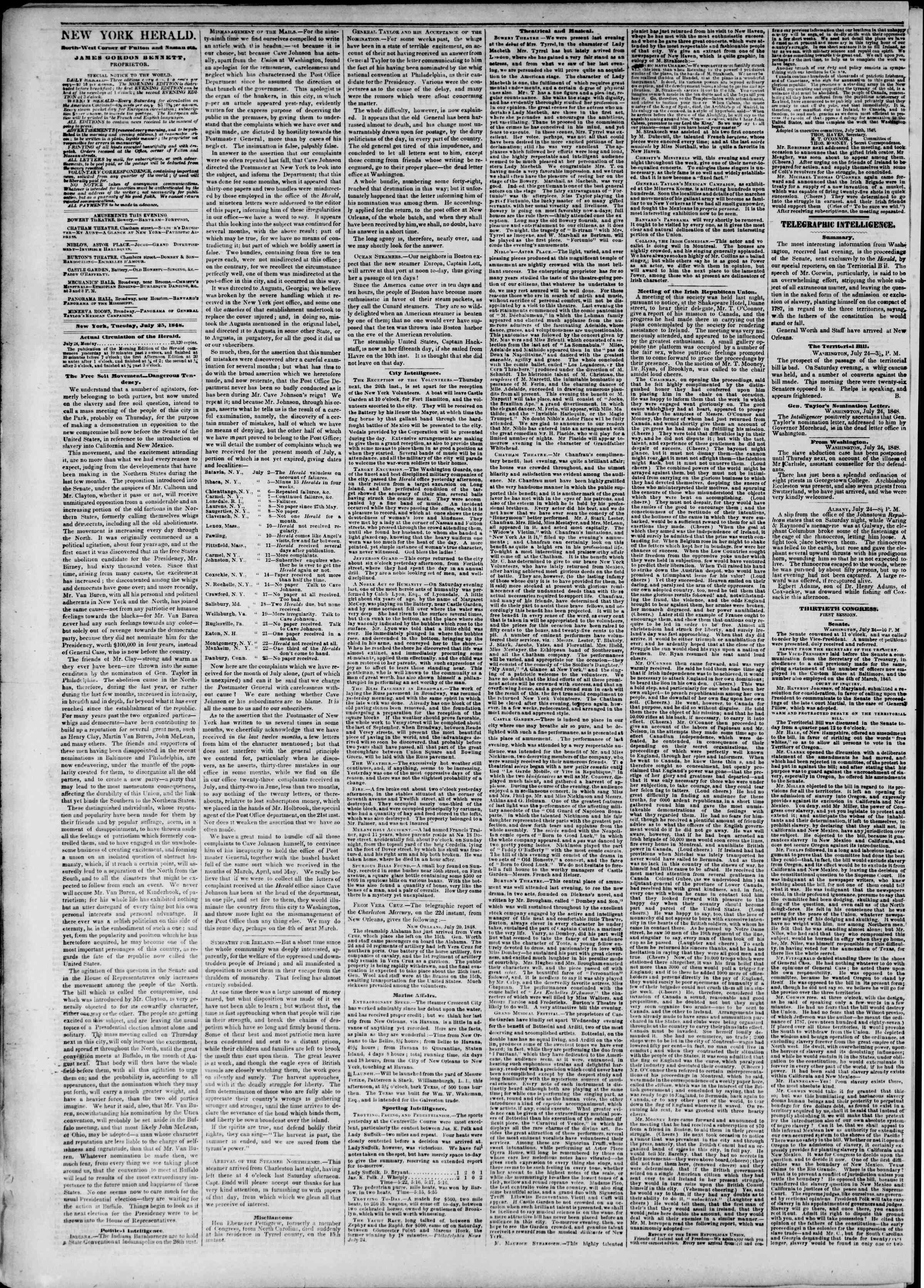 Newspaper of The New York Herald dated July 25, 1848 Page 2