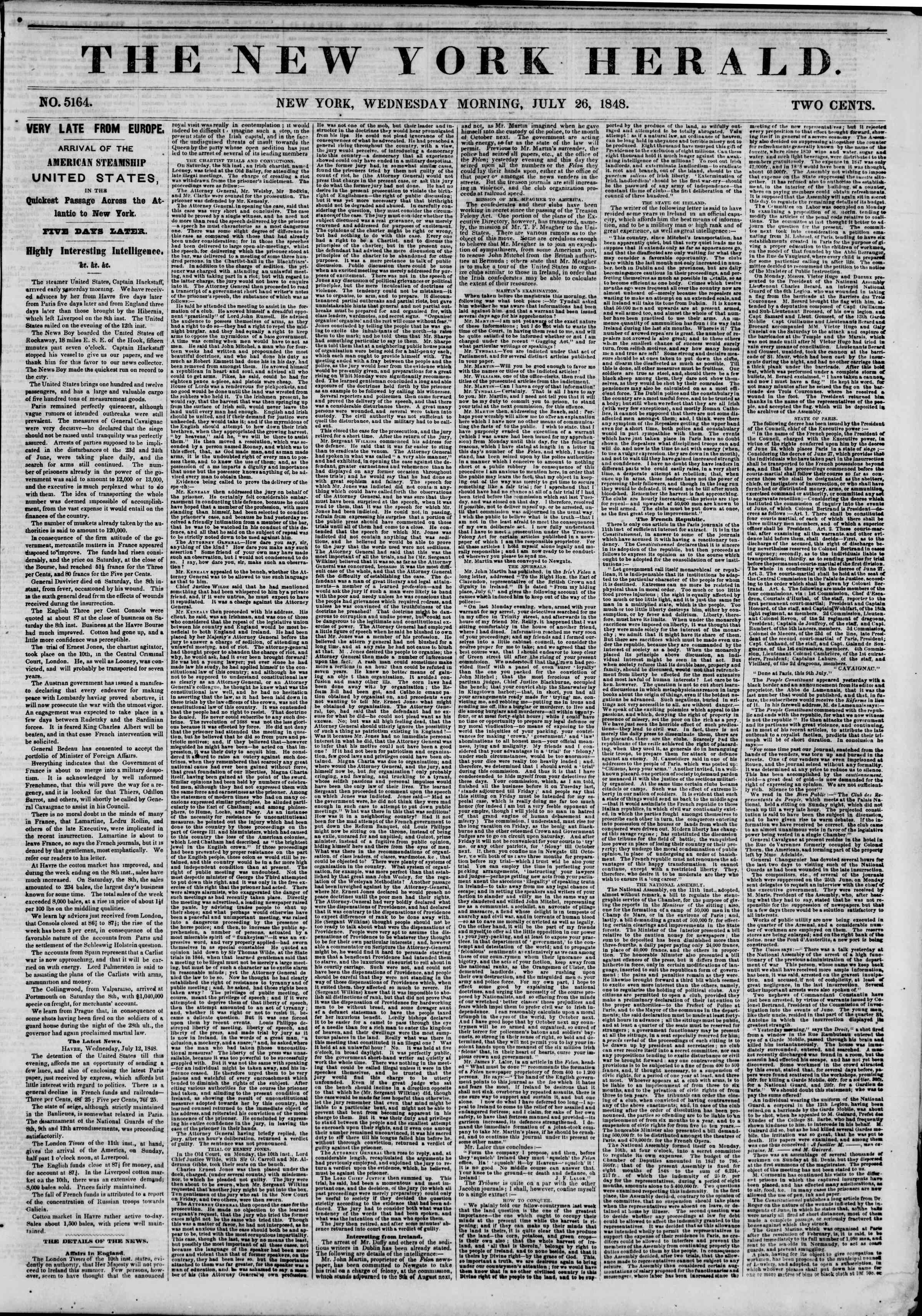 Newspaper of The New York Herald dated July 26, 1848 Page 1