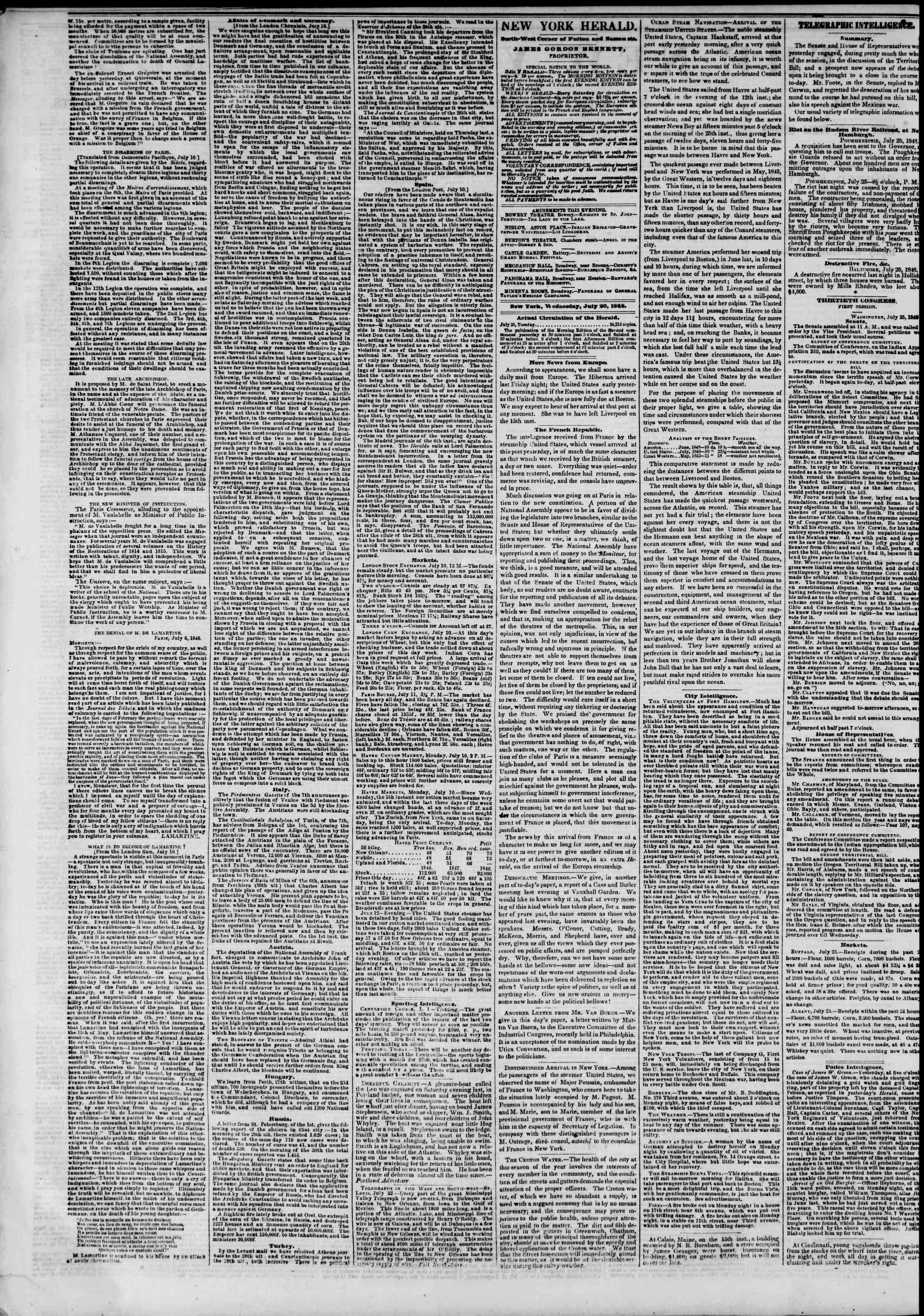 Newspaper of The New York Herald dated July 26, 1848 Page 2