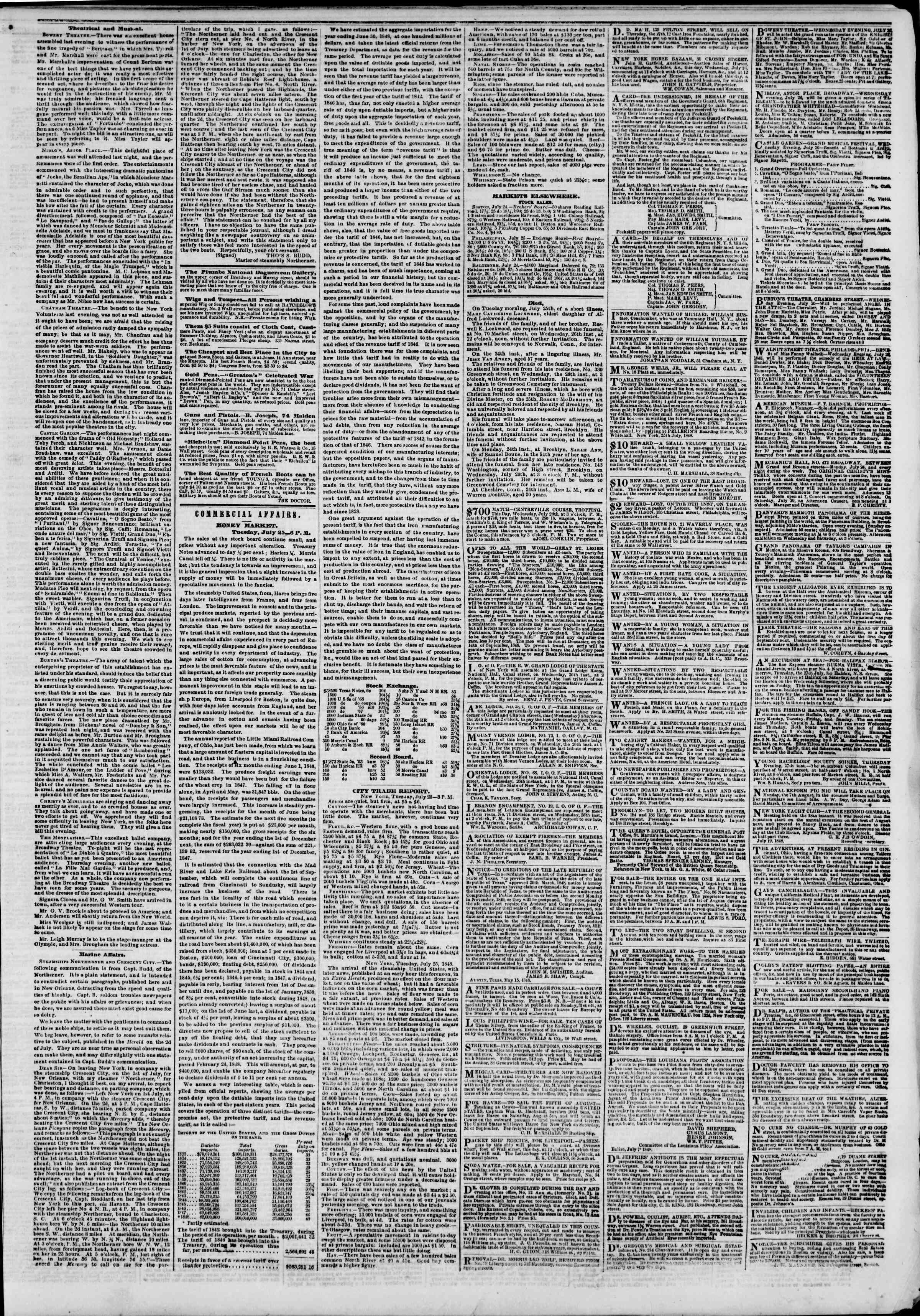 Newspaper of The New York Herald dated July 26, 1848 Page 3