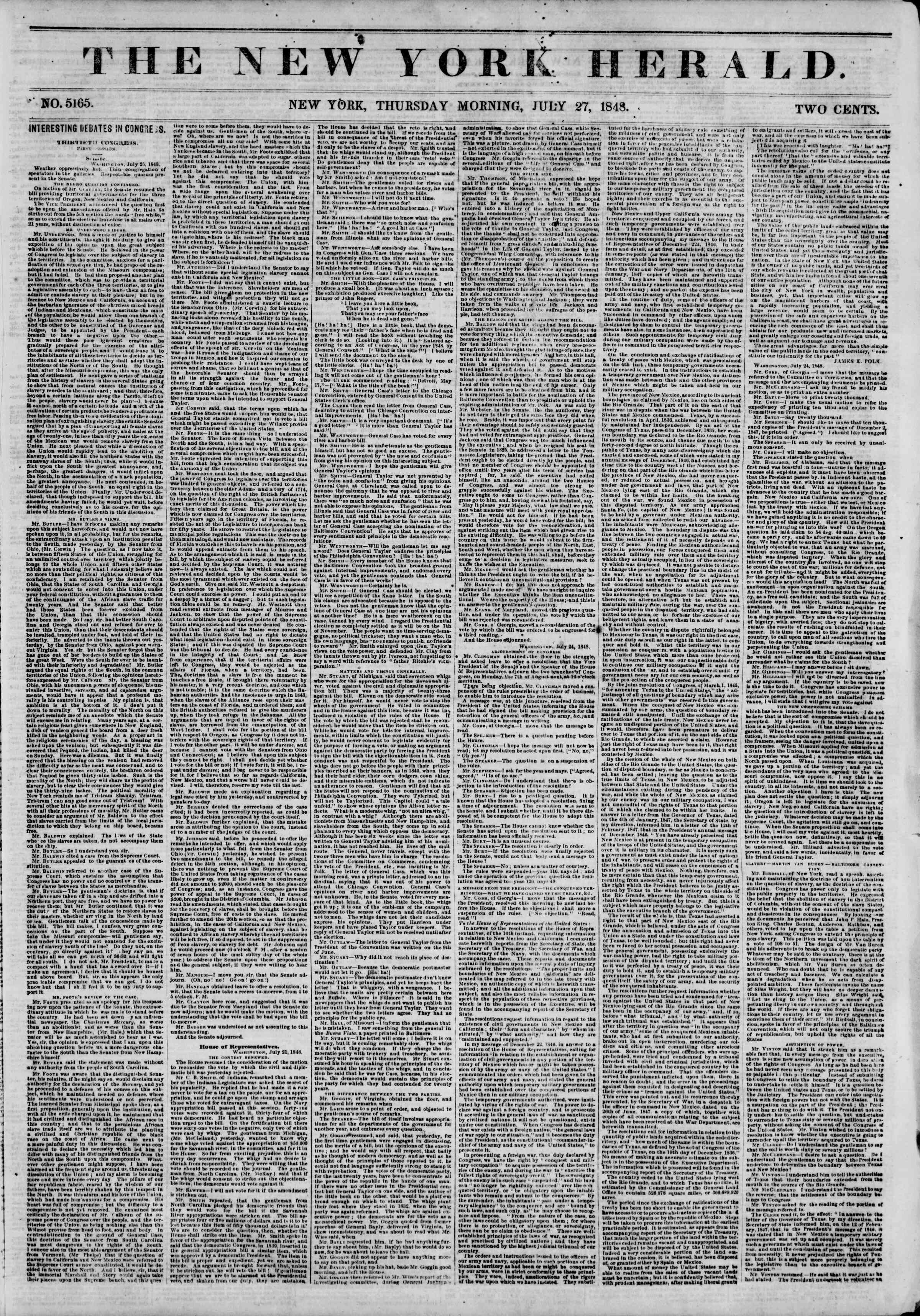 Newspaper of The New York Herald dated July 27, 1848 Page 1