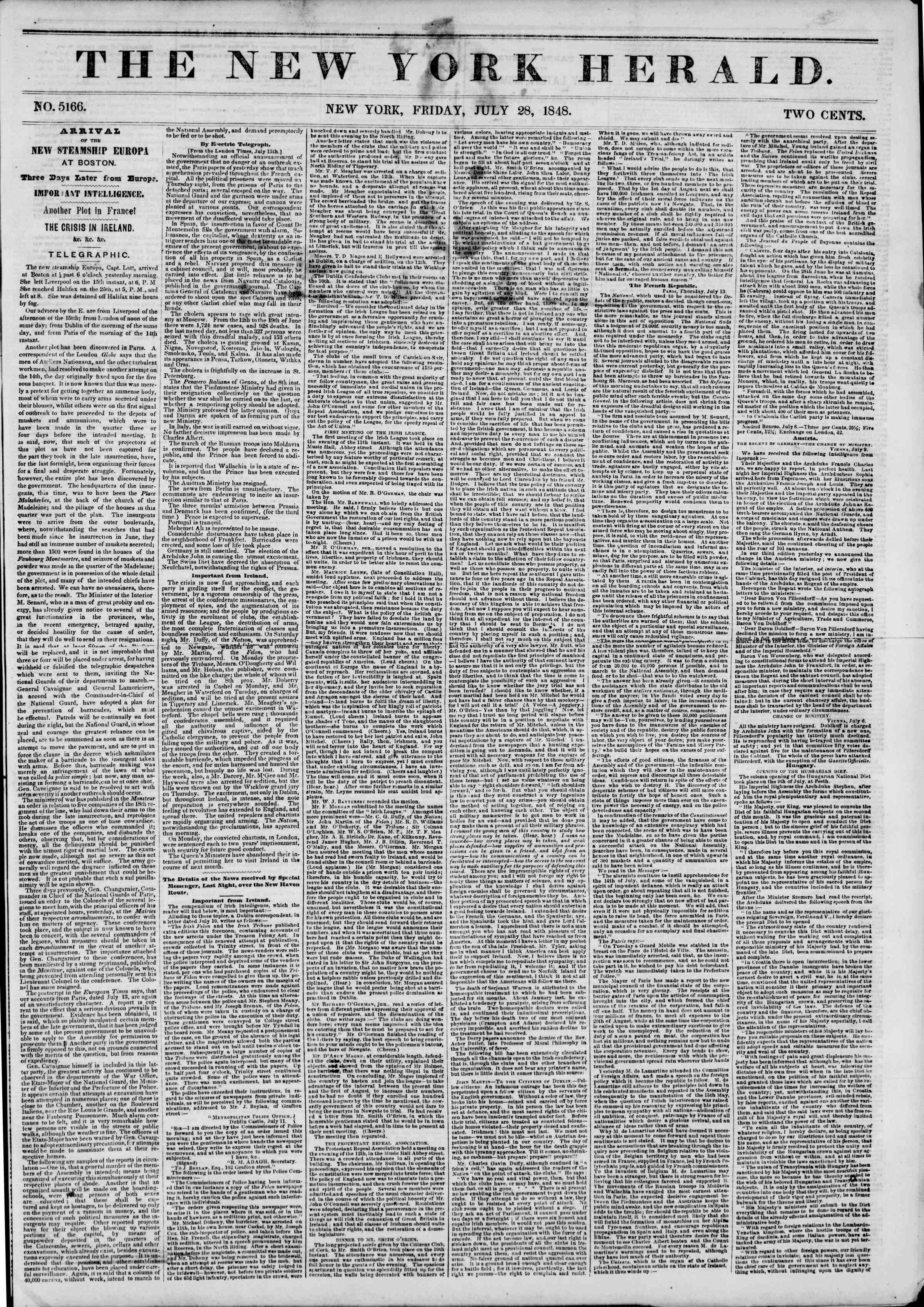 Newspaper of The New York Herald dated July 28, 1848 Page 1