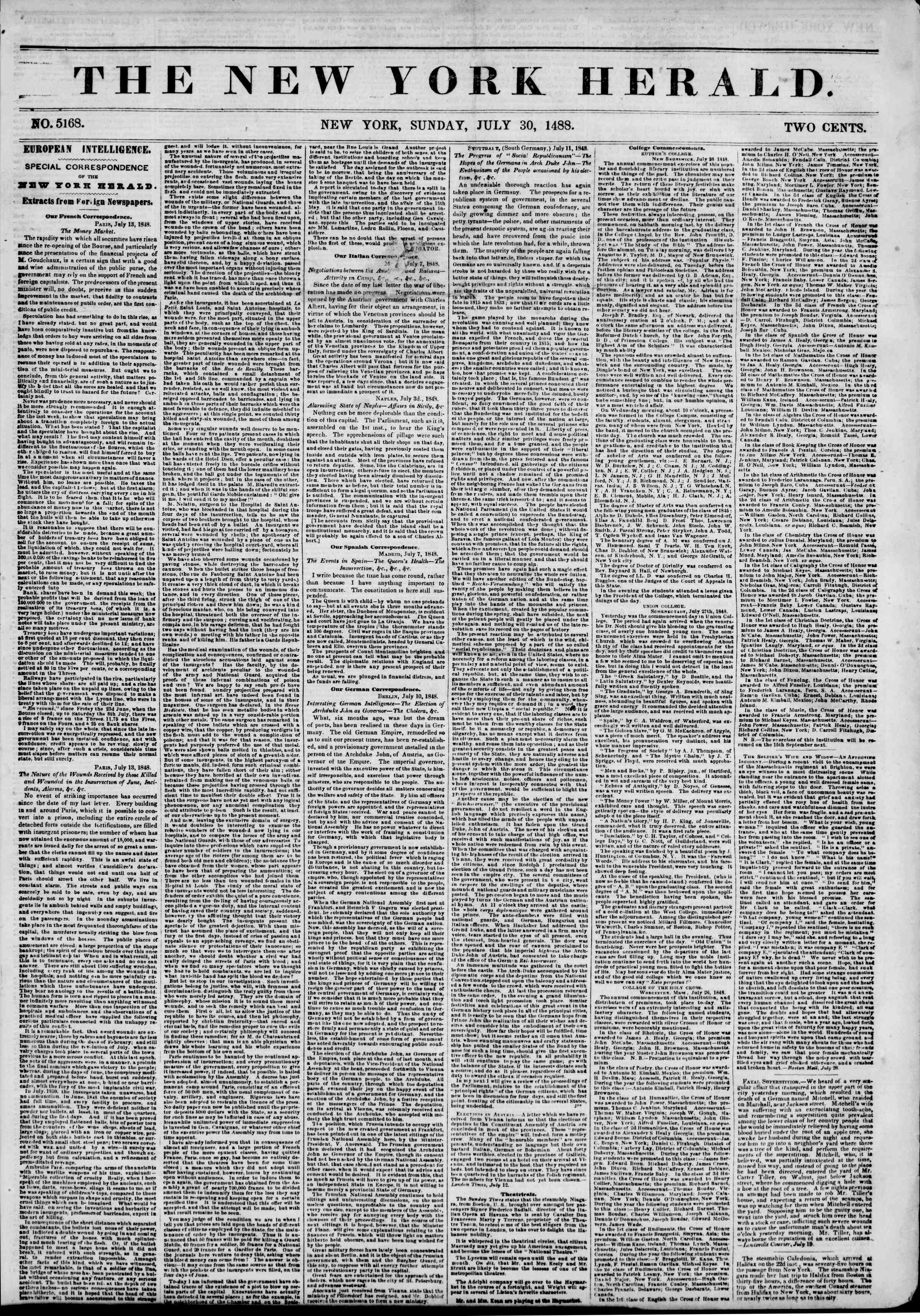 Newspaper of The New York Herald dated July 30, 1848 Page 1