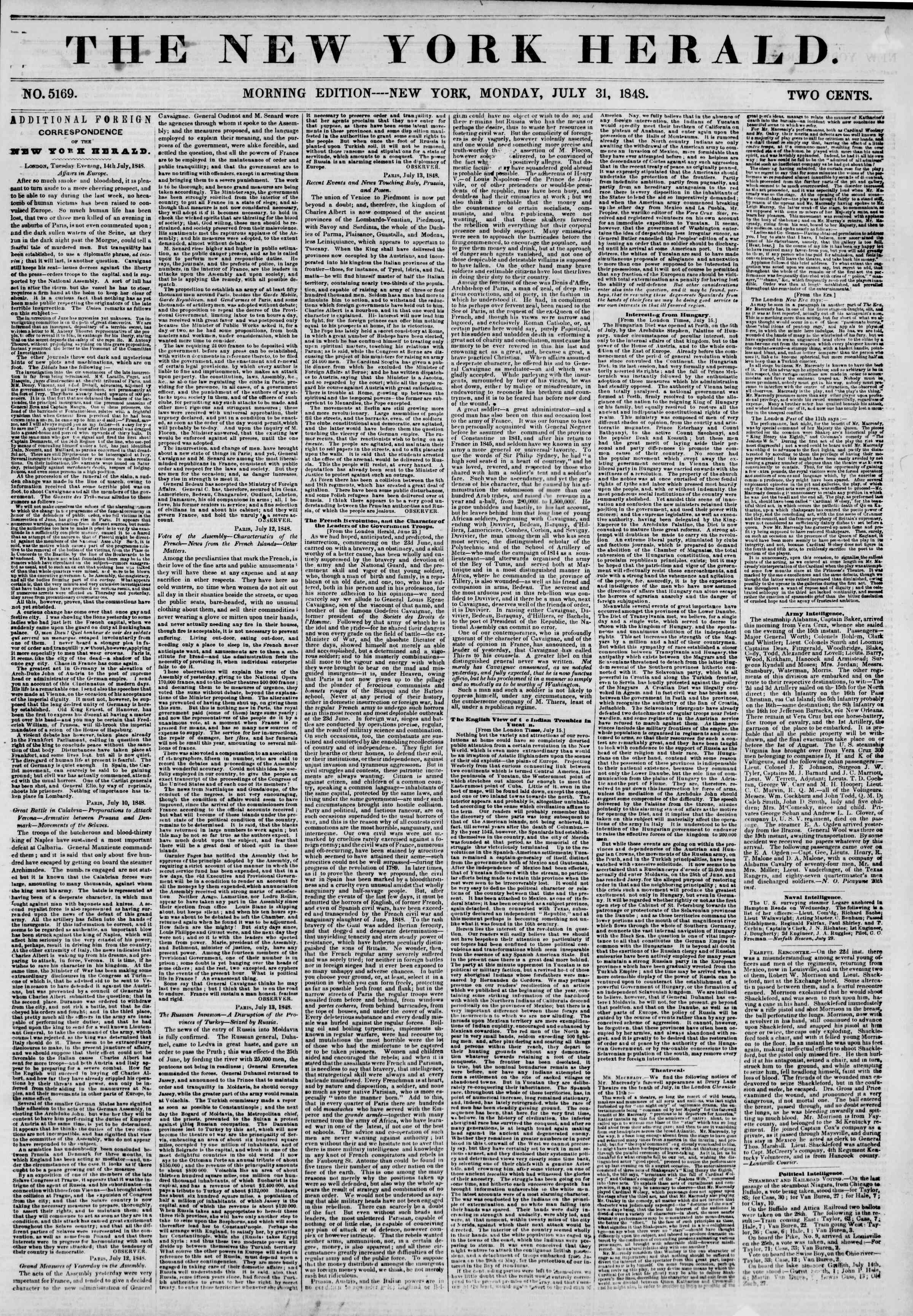 Newspaper of The New York Herald dated July 31, 1848 Page 1