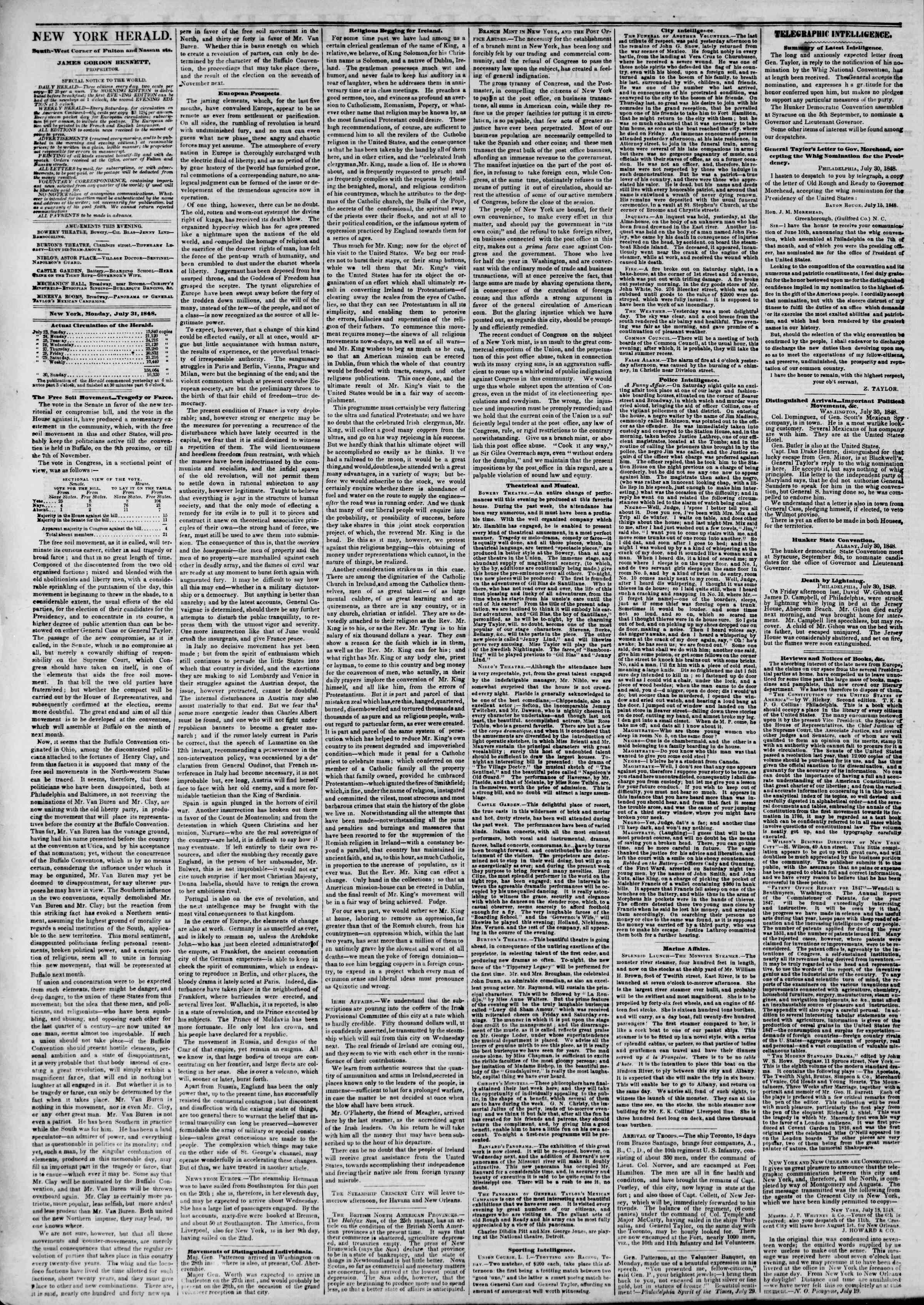 Newspaper of The New York Herald dated July 31, 1848 Page 2