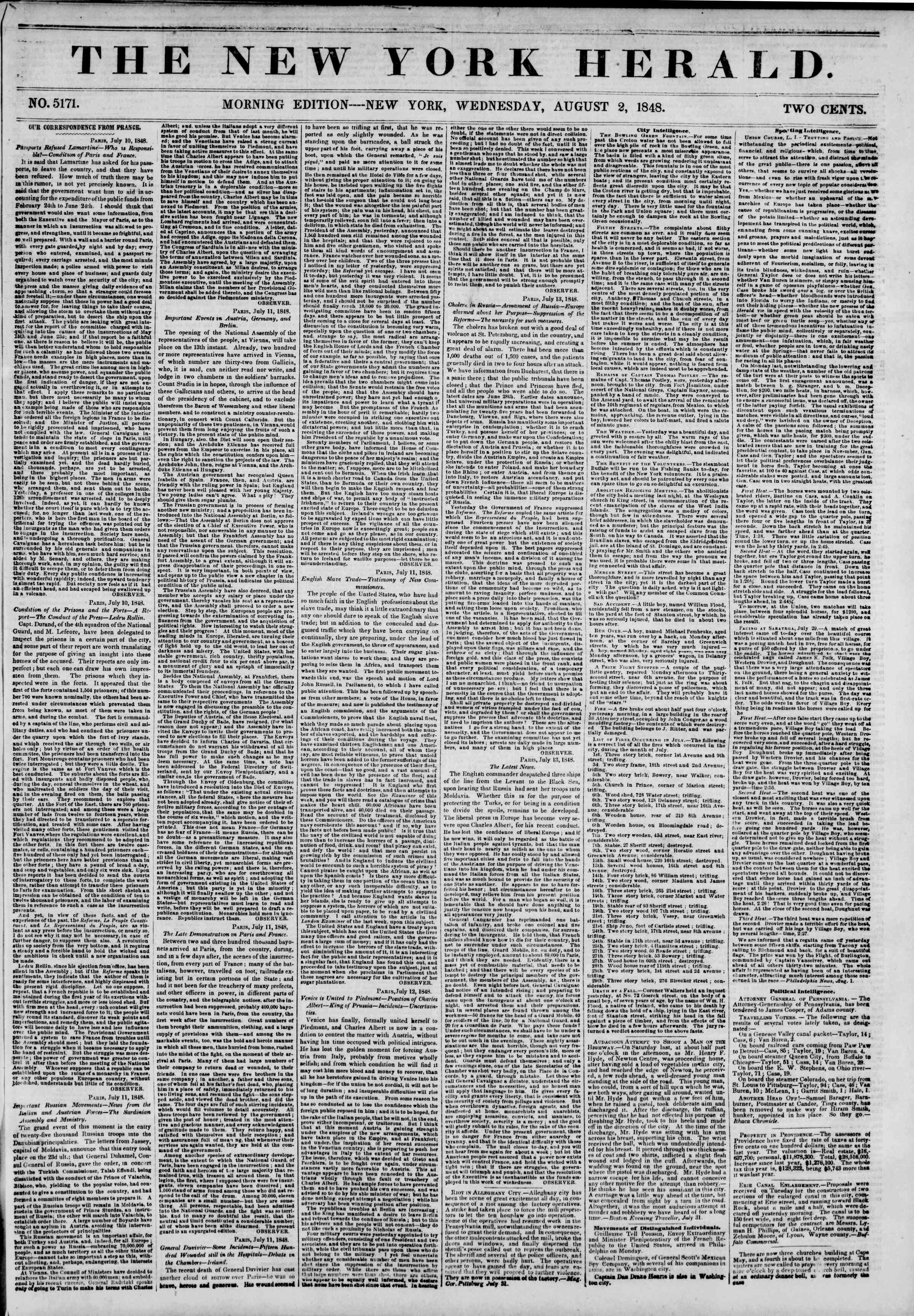 Newspaper of The New York Herald dated August 2, 1848 Page 1