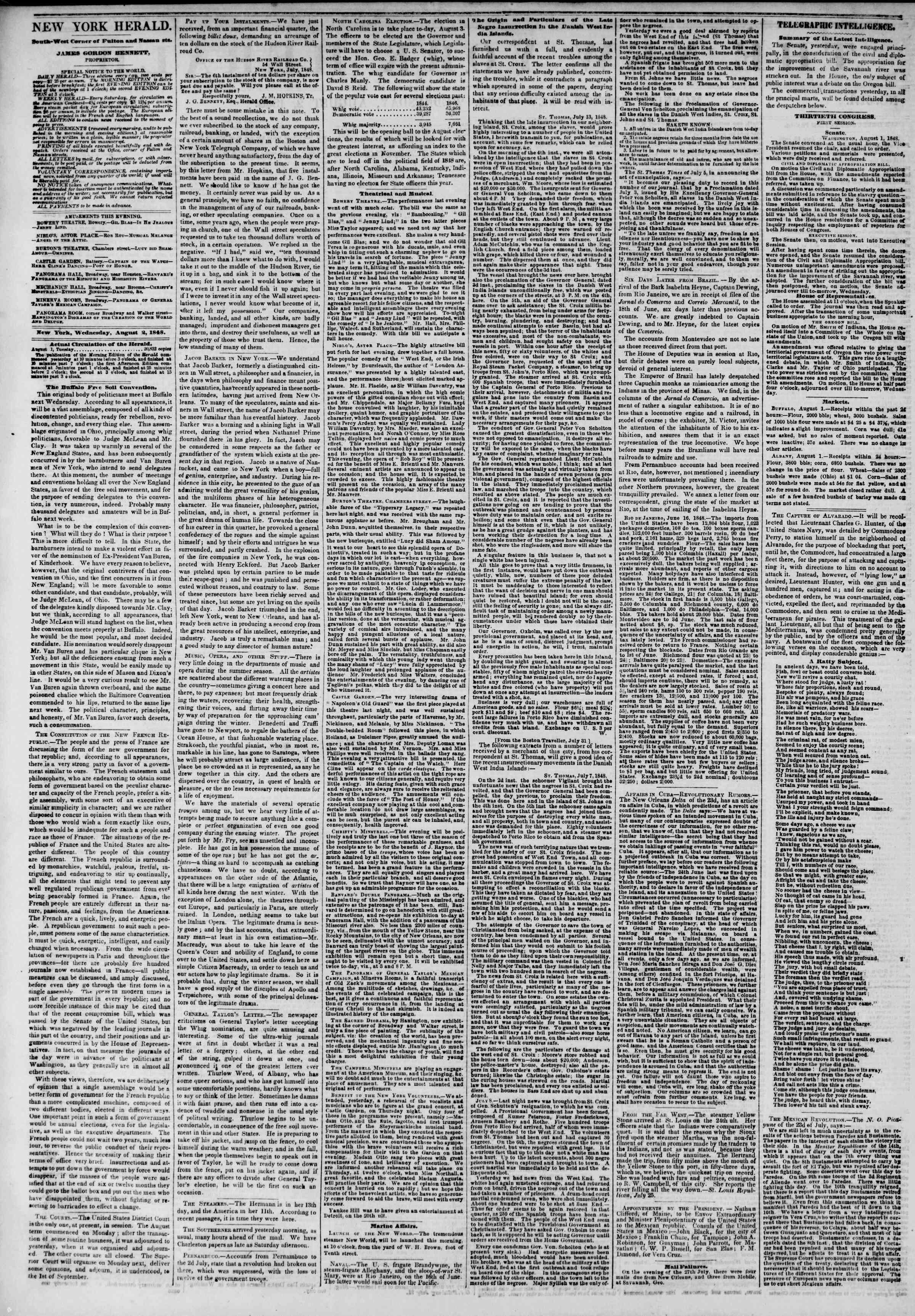 2 Ağustos 1848 tarihli The New York Herald Gazetesi Sayfa 2
