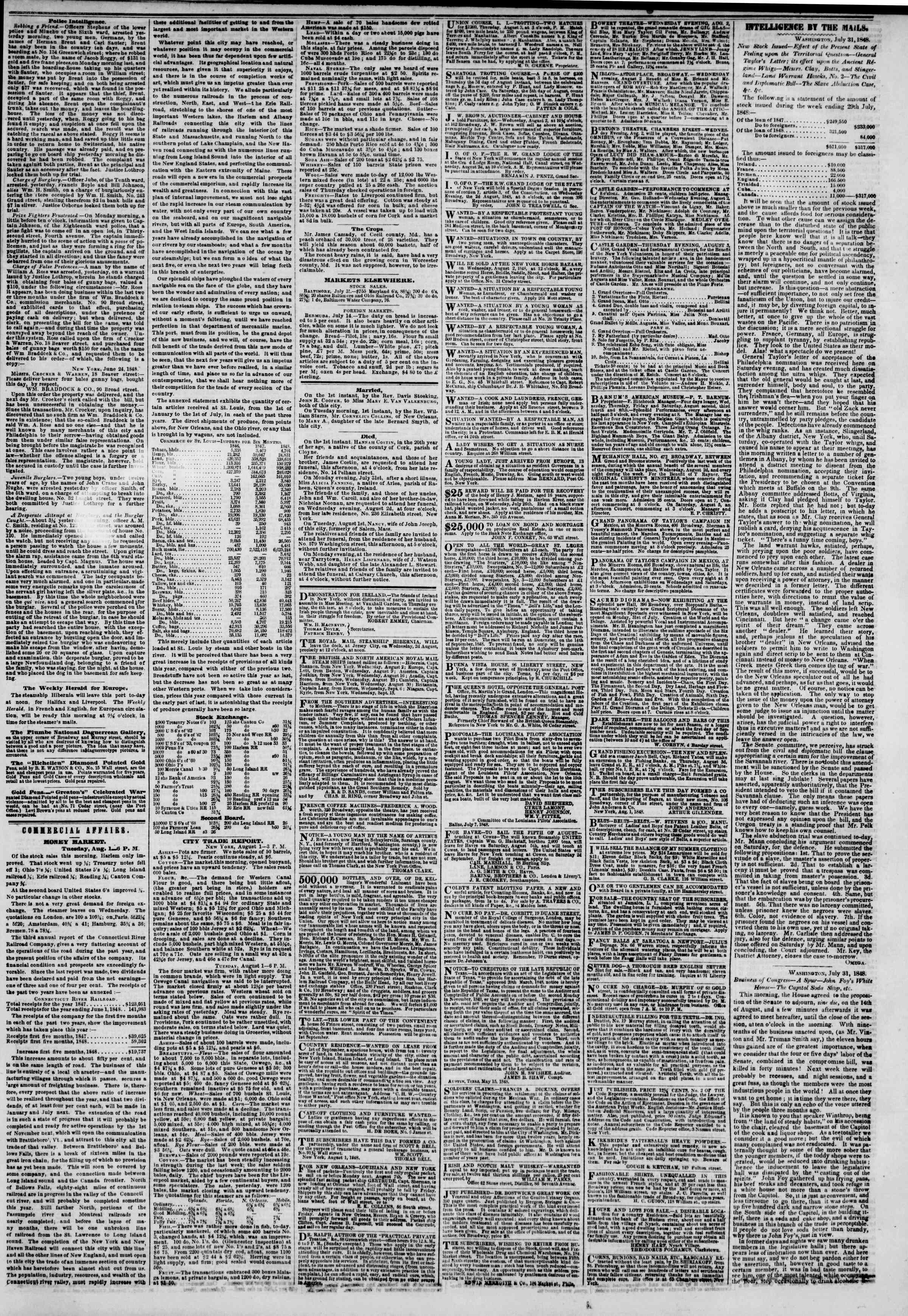 Newspaper of The New York Herald dated August 2, 1848 Page 3