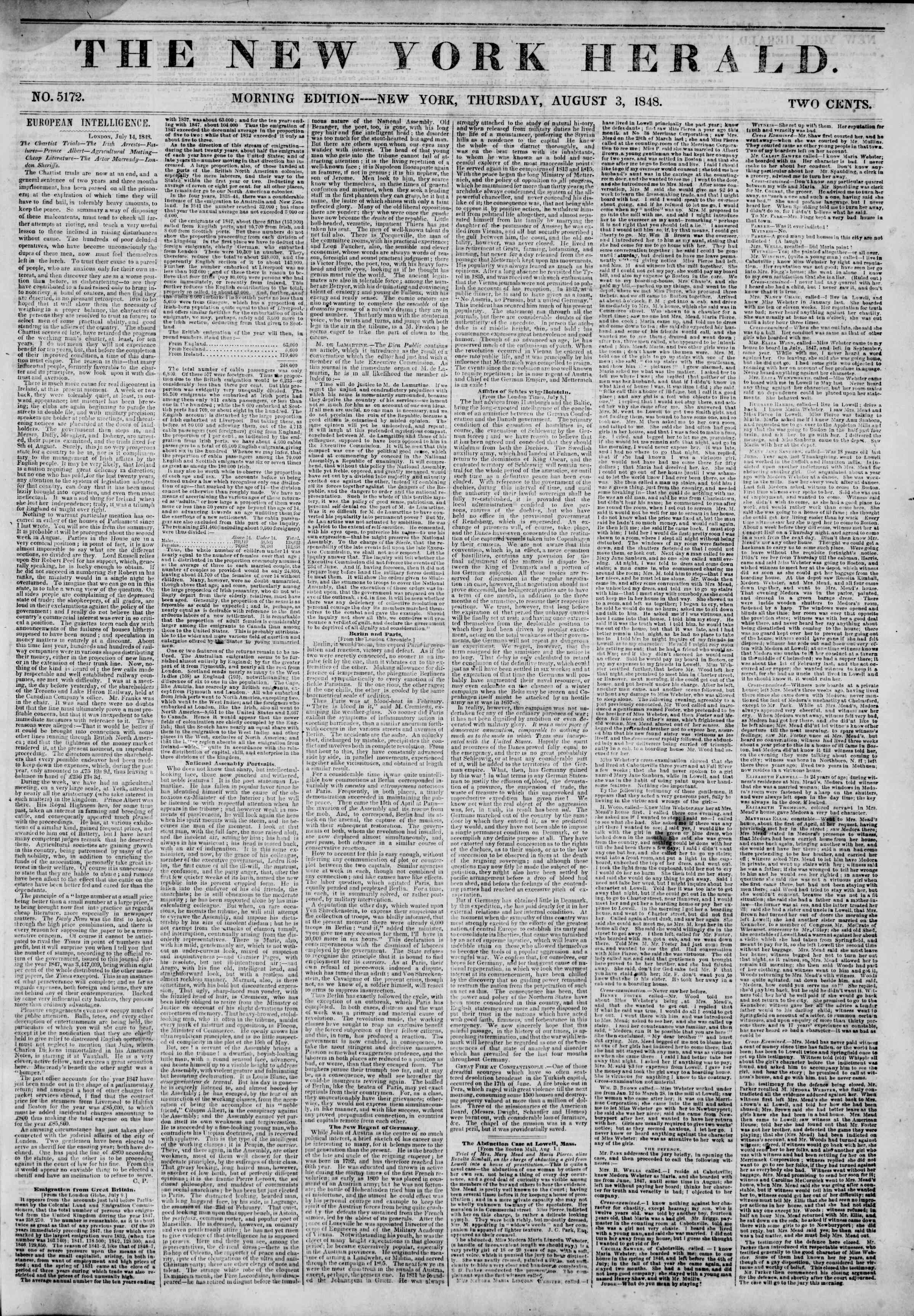 Newspaper of The New York Herald dated August 3, 1848 Page 1