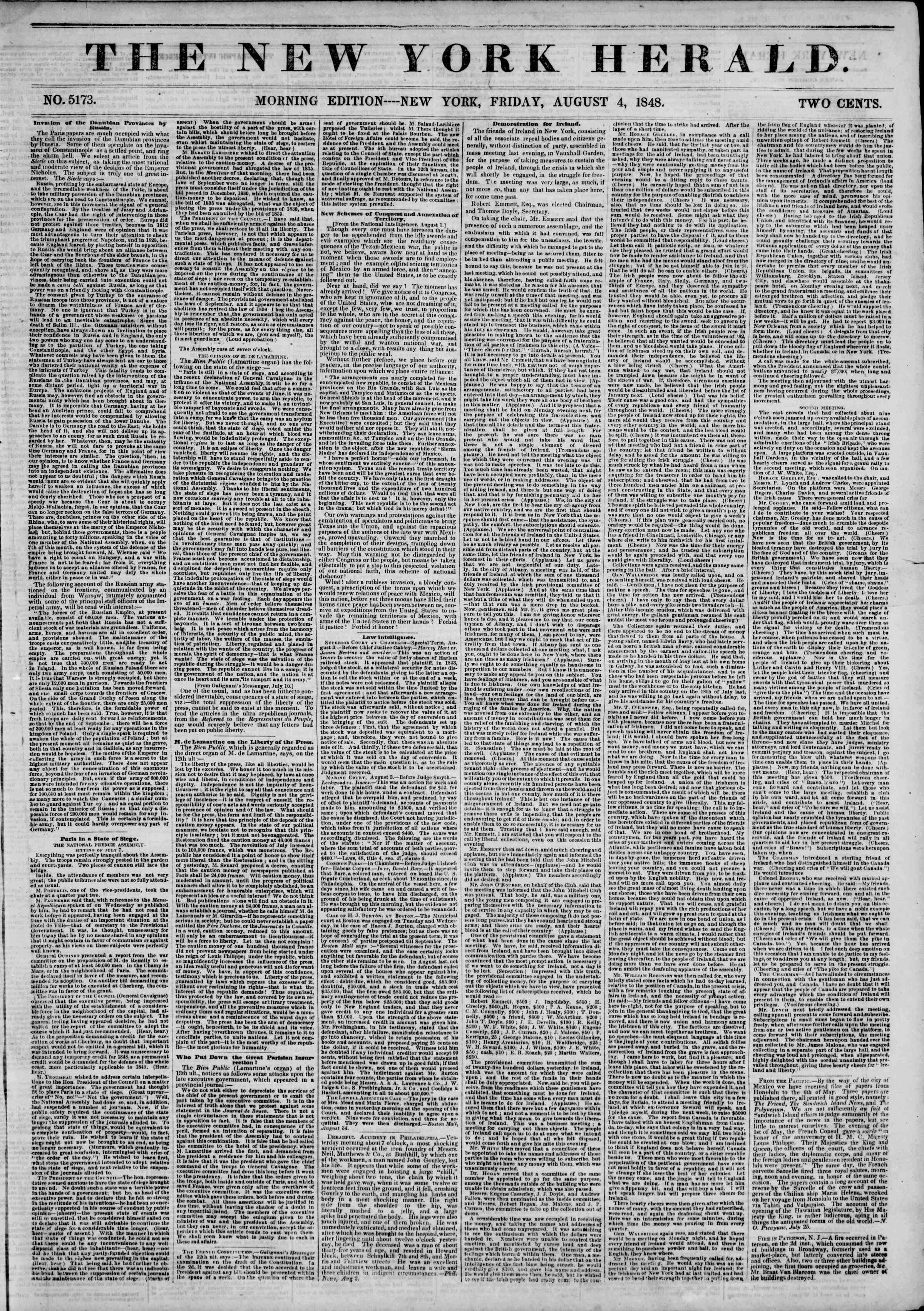 Newspaper of The New York Herald dated August 4, 1848 Page 1