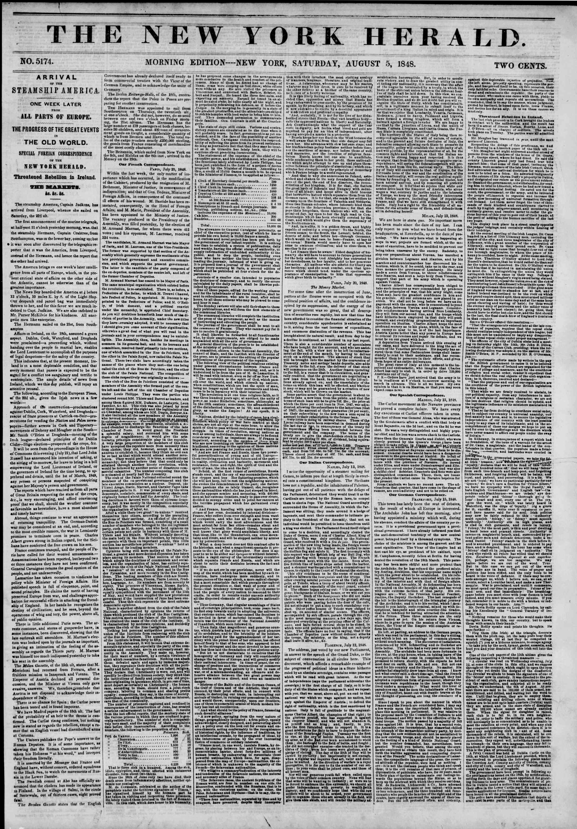 Newspaper of The New York Herald dated August 5, 1848 Page 1