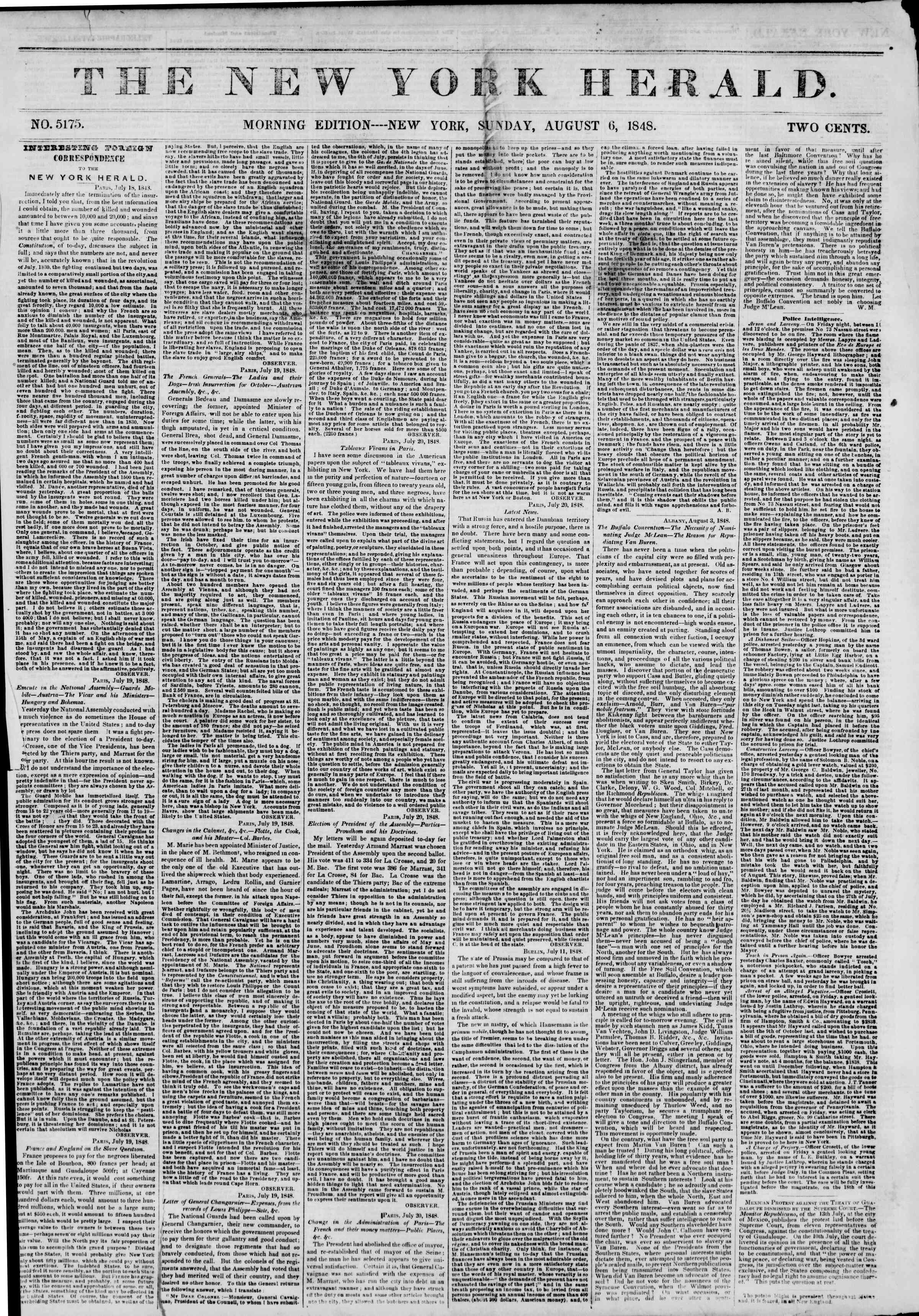 Newspaper of The New York Herald dated August 6, 1848 Page 1