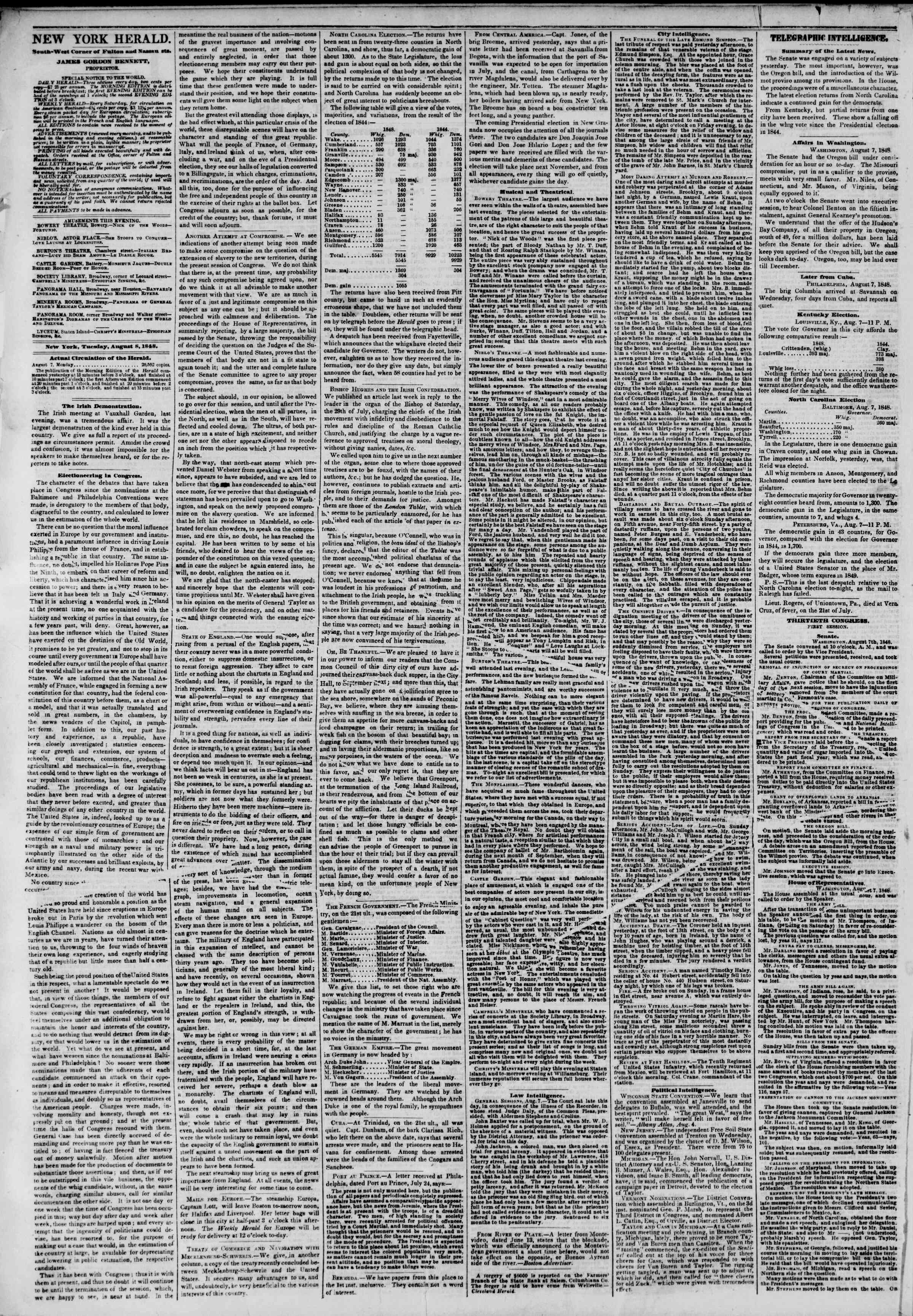 Newspaper of The New York Herald dated August 8, 1848 Page 2