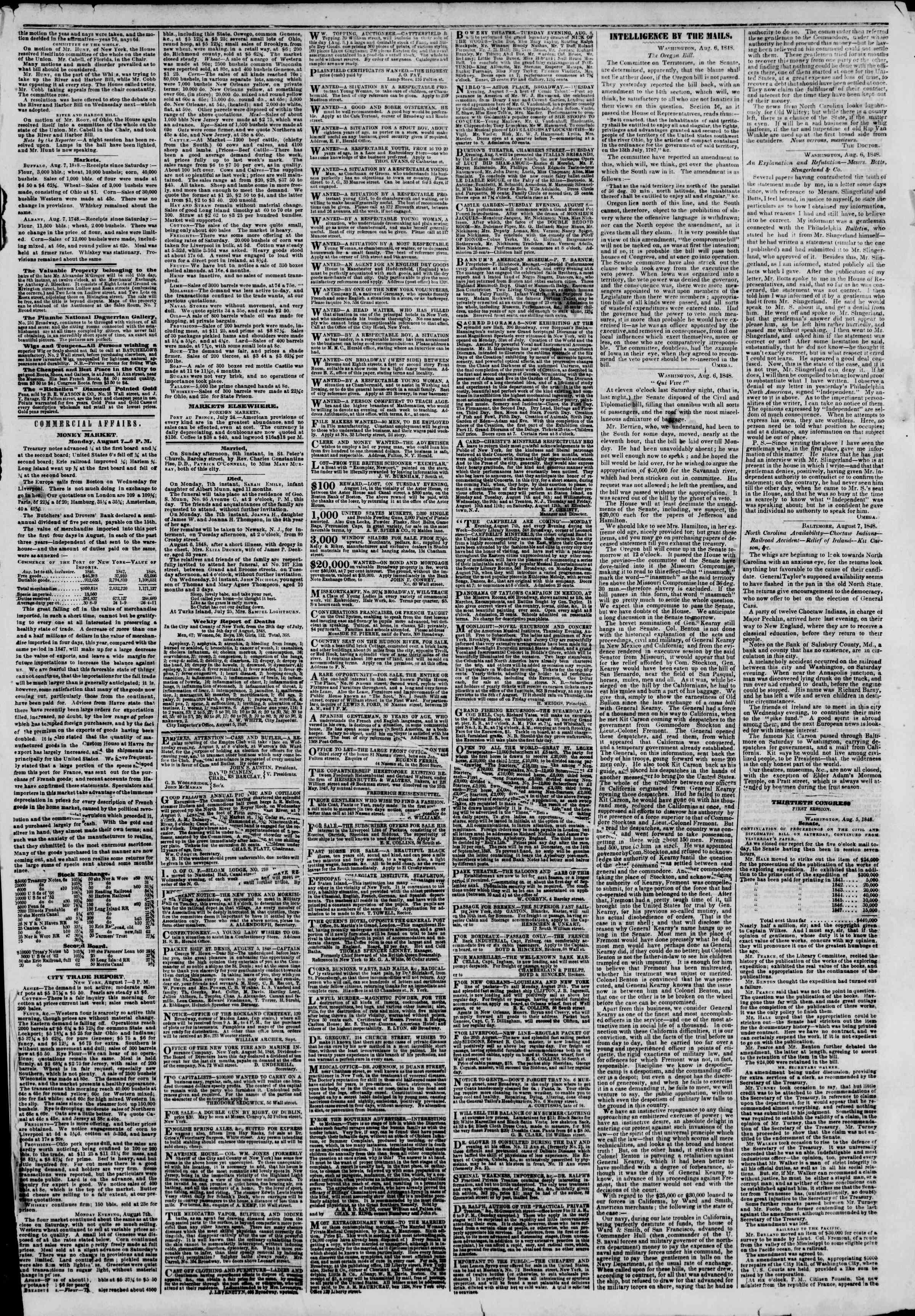 Newspaper of The New York Herald dated August 8, 1848 Page 3