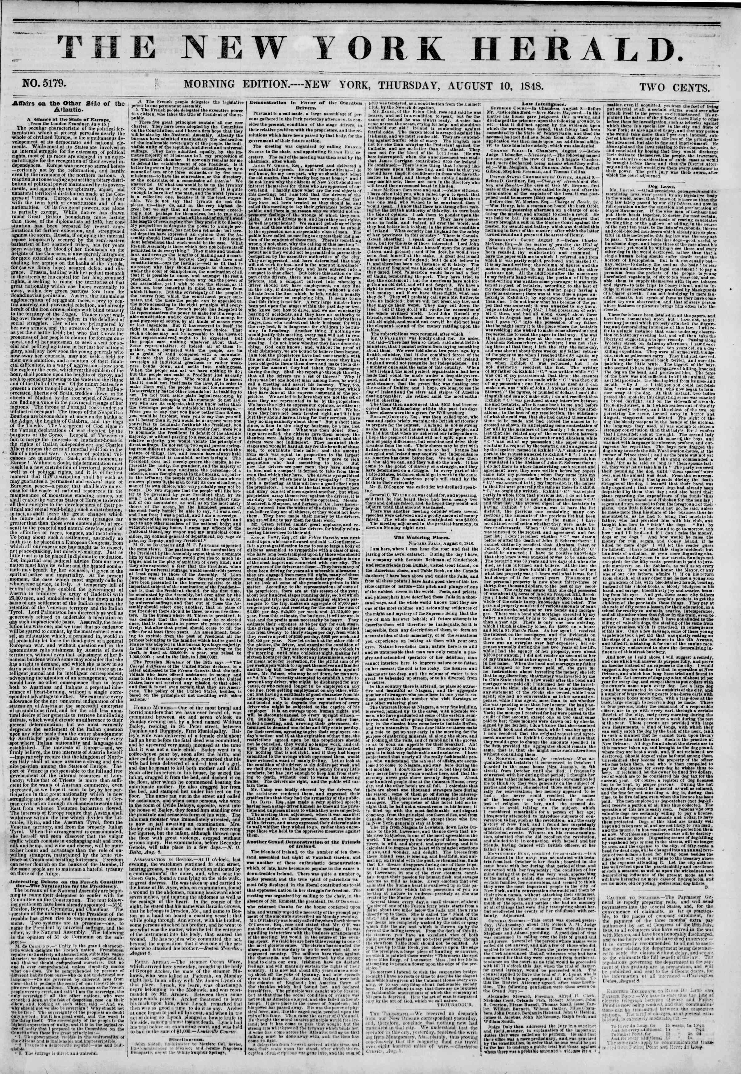Newspaper of The New York Herald dated August 10, 1848 Page 1
