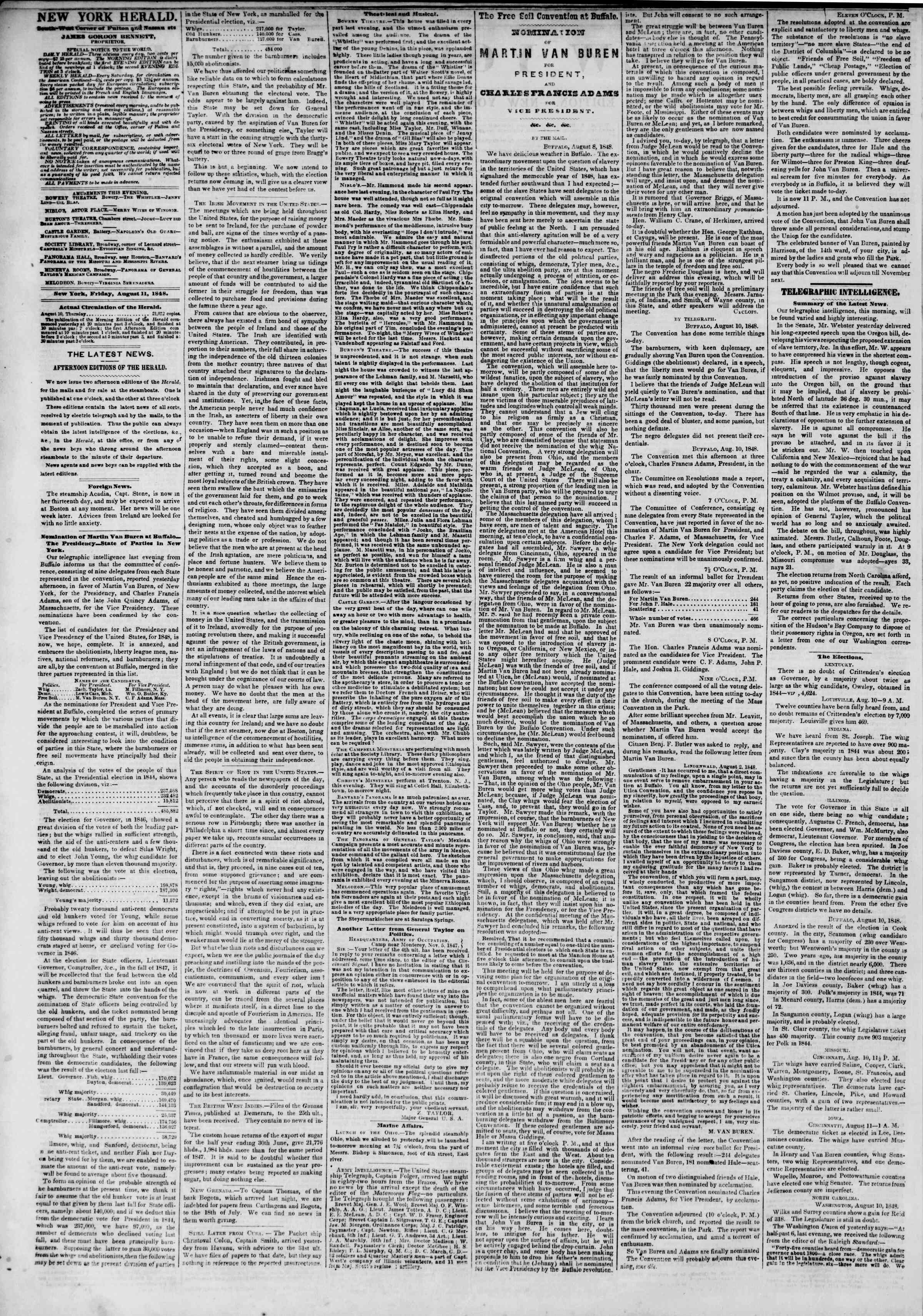 Newspaper of The New York Herald dated August 11, 1848 Page 2