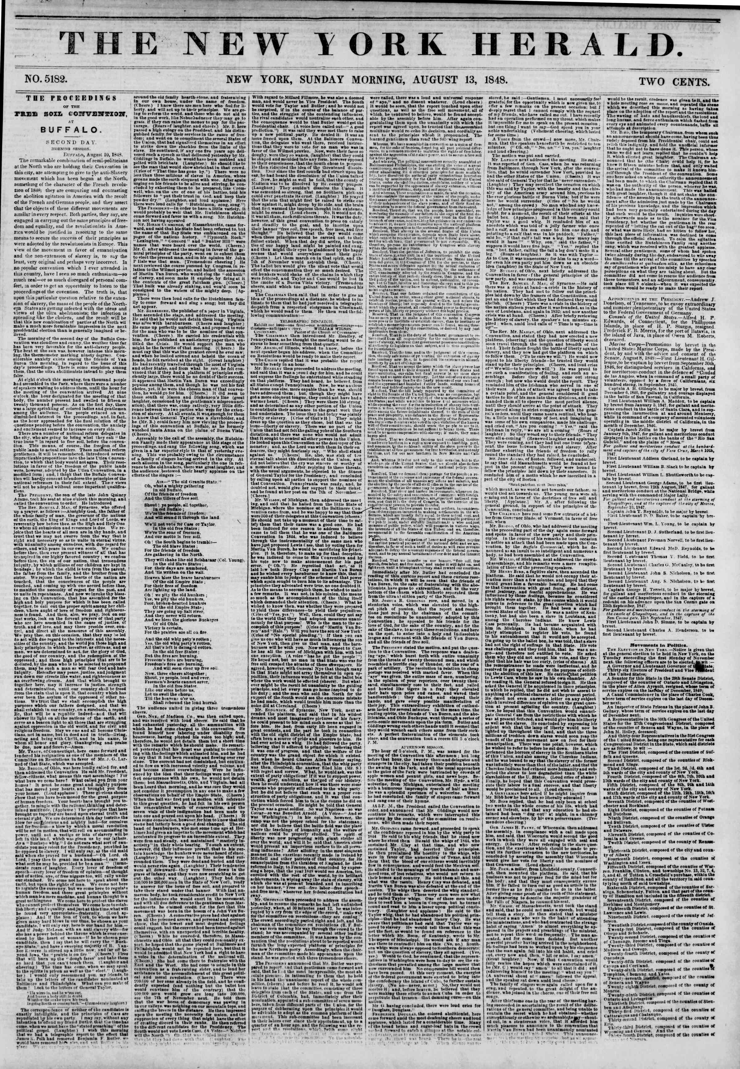 Newspaper of The New York Herald dated 13 Ağustos 1848 Page 1