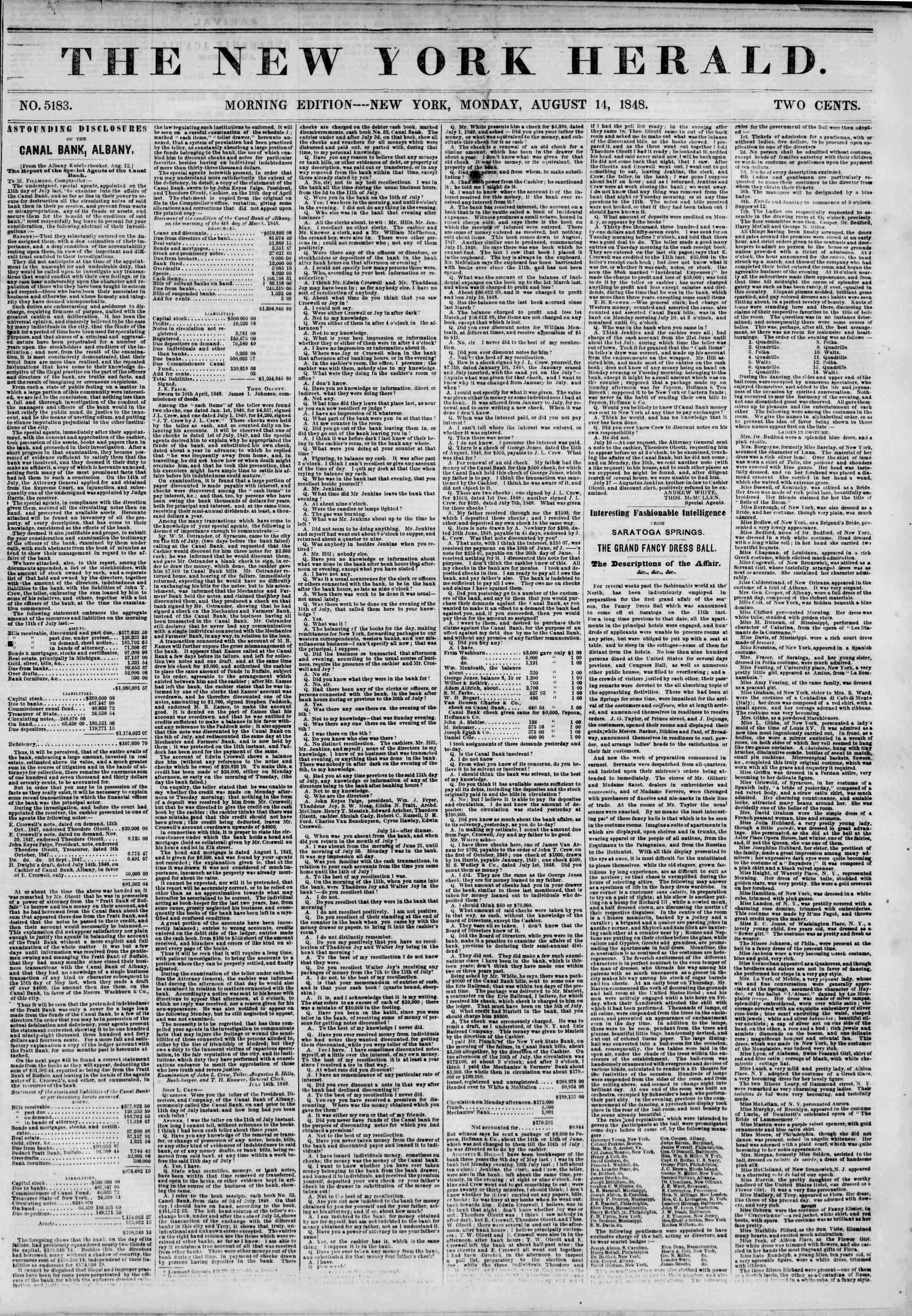 14 Ağustos 1848 tarihli The New York Herald Gazetesi Sayfa 1